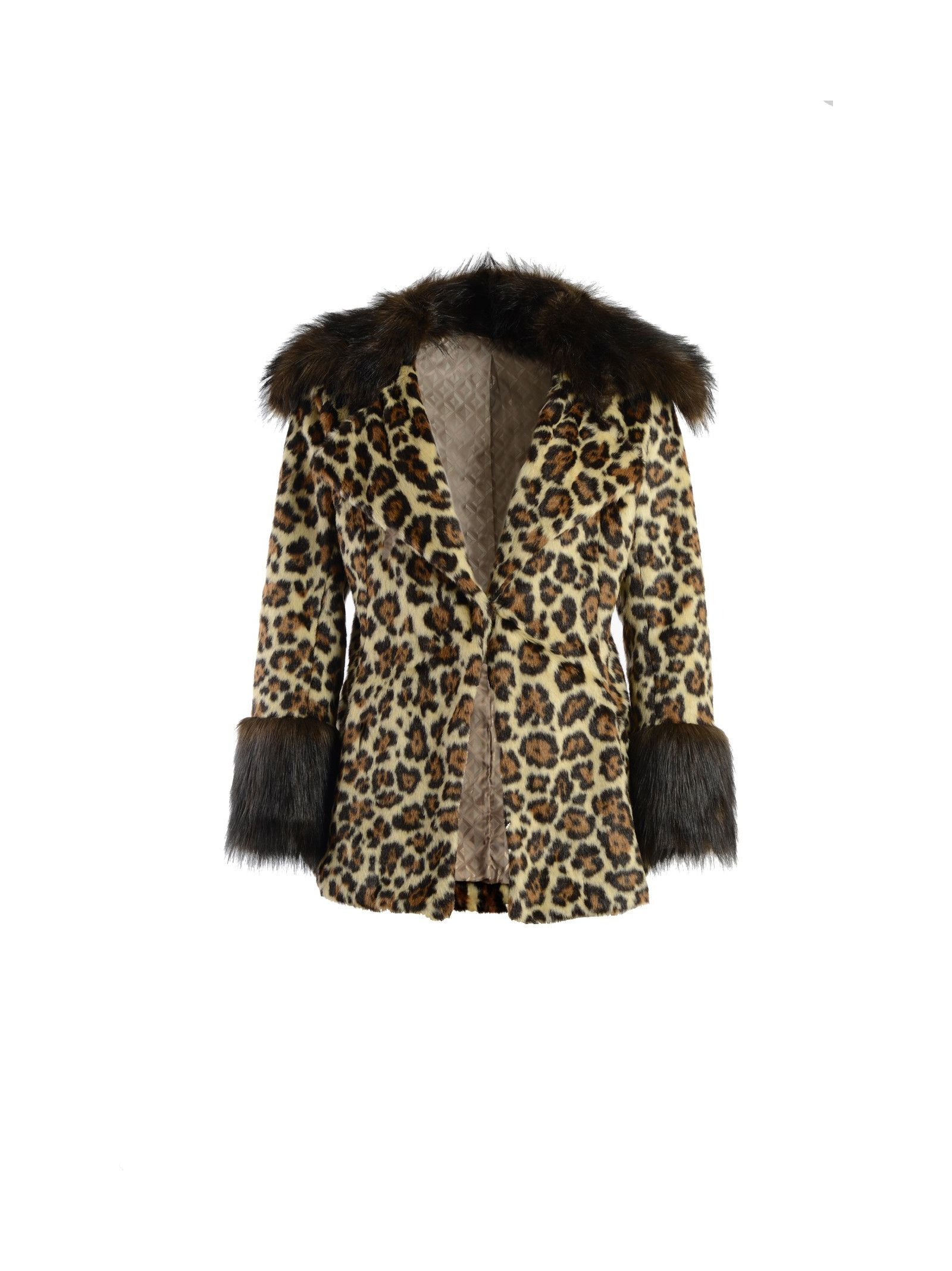 Eco-fur jacket with animalier print Details: Eco-fur, Animalier print, Collar and cuffs in eco-fur, Two side pockets, Lined