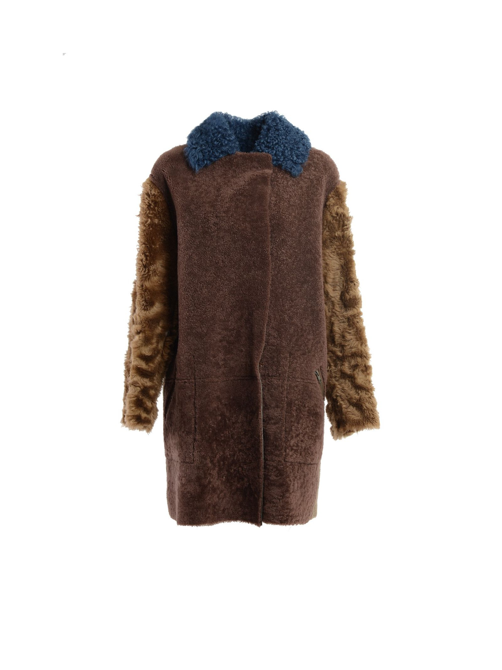 Leather and faux-fur coat Details: Leather and fur coat, Multicolour fur patchwork on one side, Soft leather on the other, Two side pockets on both sides