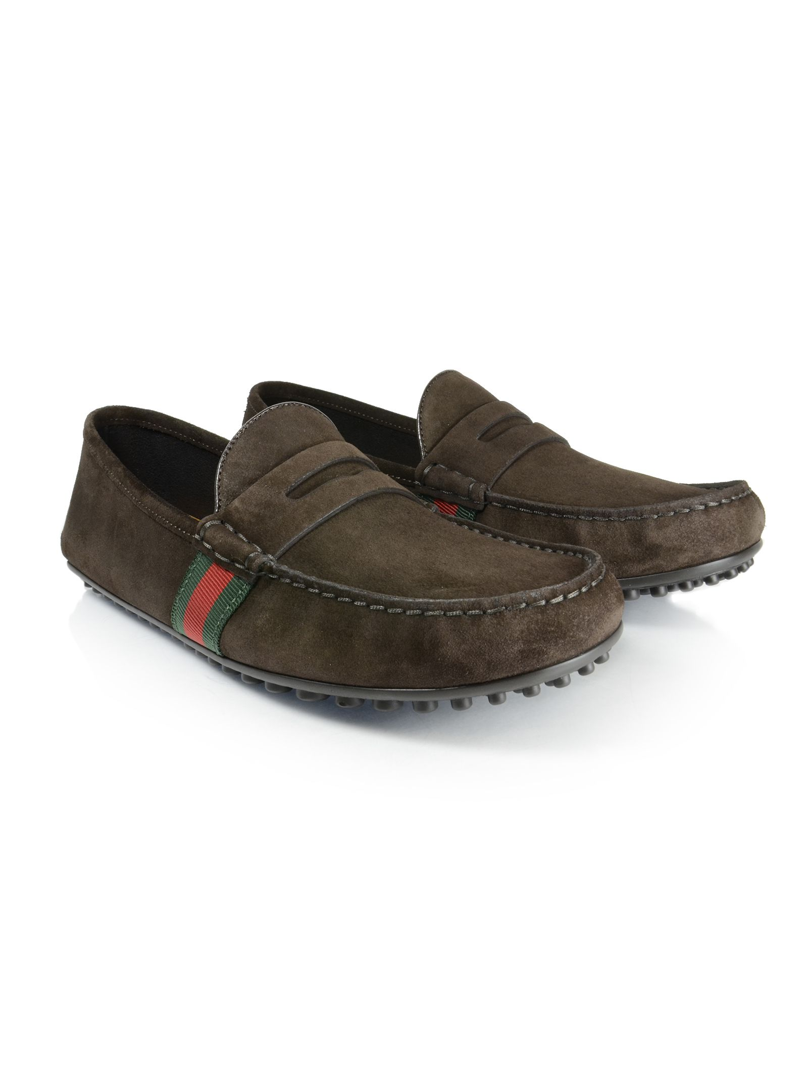 gucci male 124410 dark brown suede loafers
