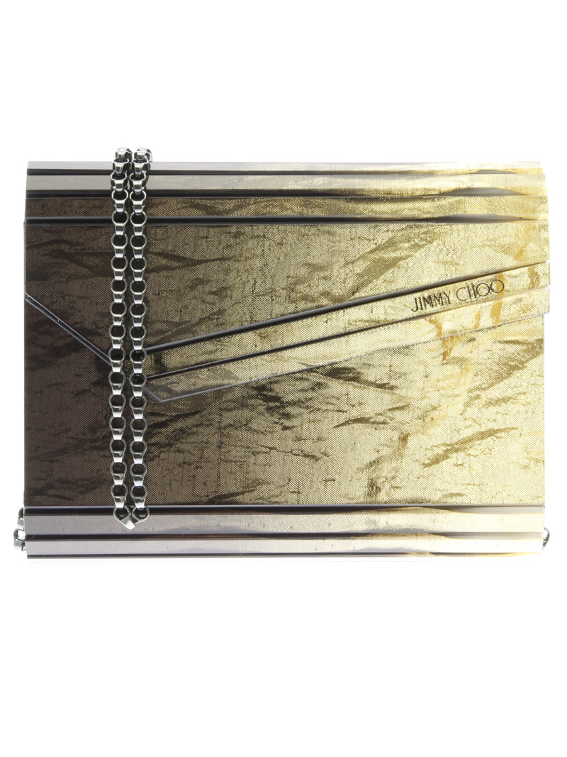 Jimmy Choo Candy Clutch- gold-tone metal chain shoulder strap- one internal patch pocket- magnetic button closure - leather lining- measurements H 11cm W 17cm D 4,5cm