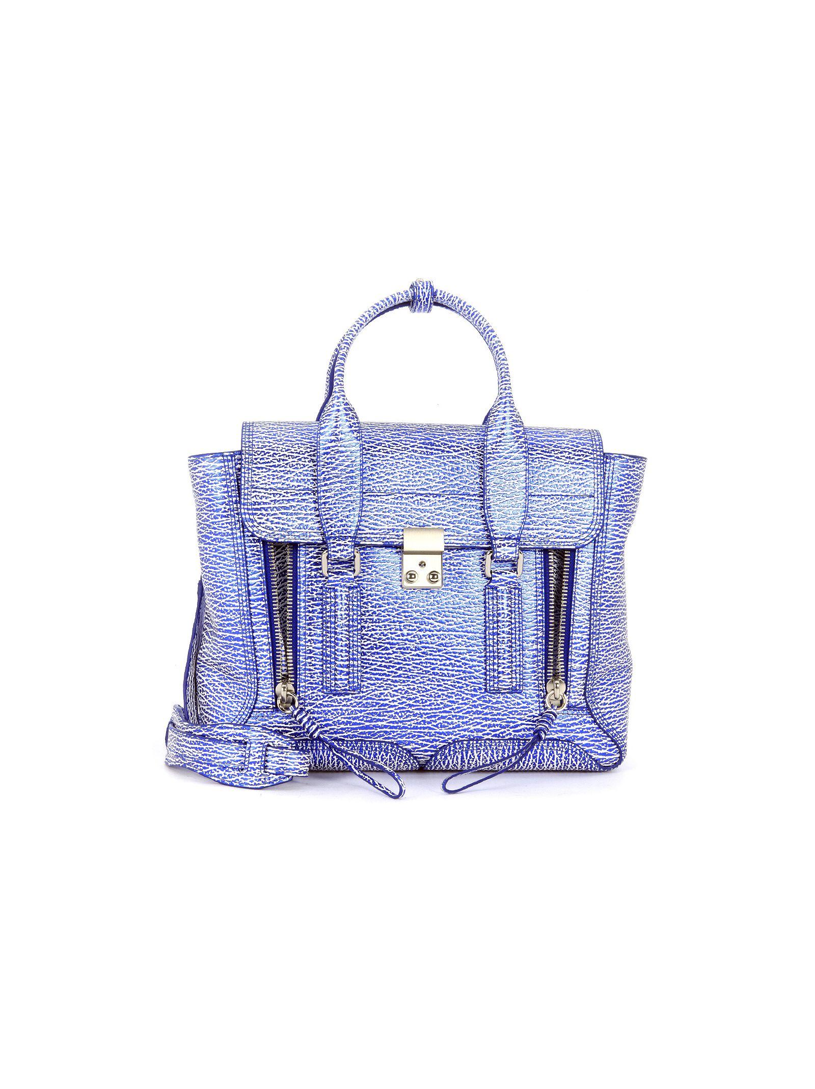 3.1 Phillip Lim Pashli Medium Satchel In White And Blue Leather