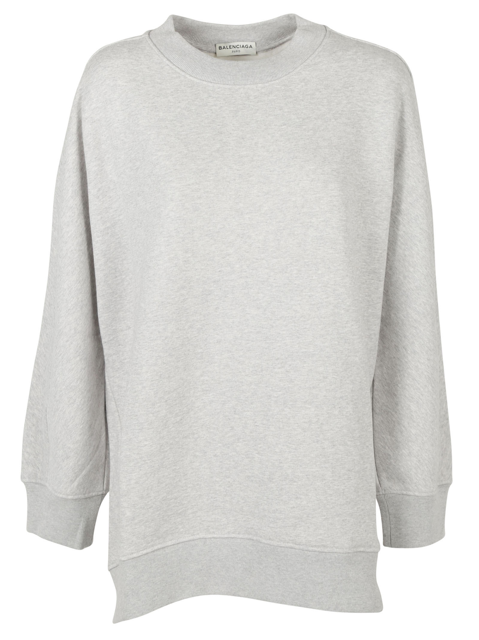 Over Sweatshirt from Balenciaga: Grey Over Sweatshirt with long sleeves, fitted cuffs and designers Paris address printed on the back