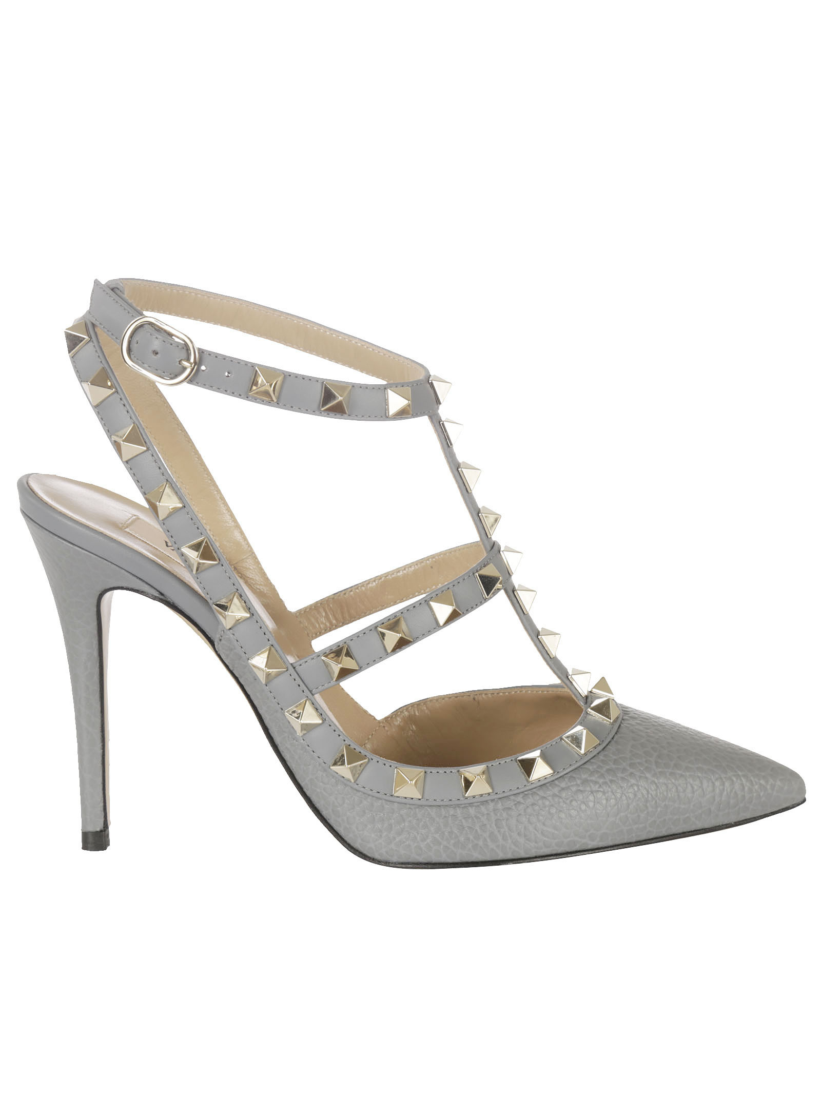 Studded Pumps from Valentino: Grey Studded Pumps with ankle strap, closed toe and a high heel