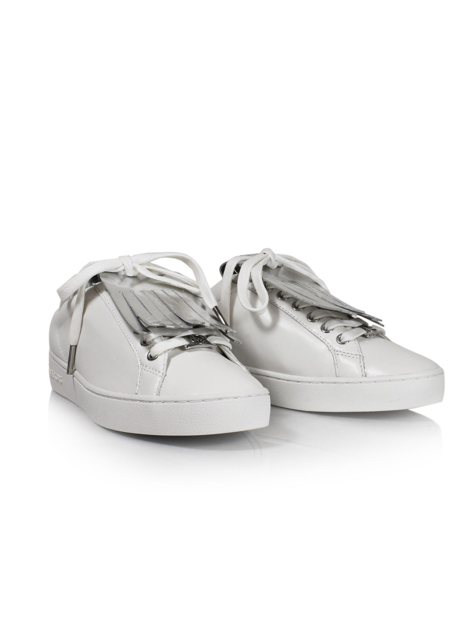 michael kors female 45900 optic white keaton kiltie sneakers