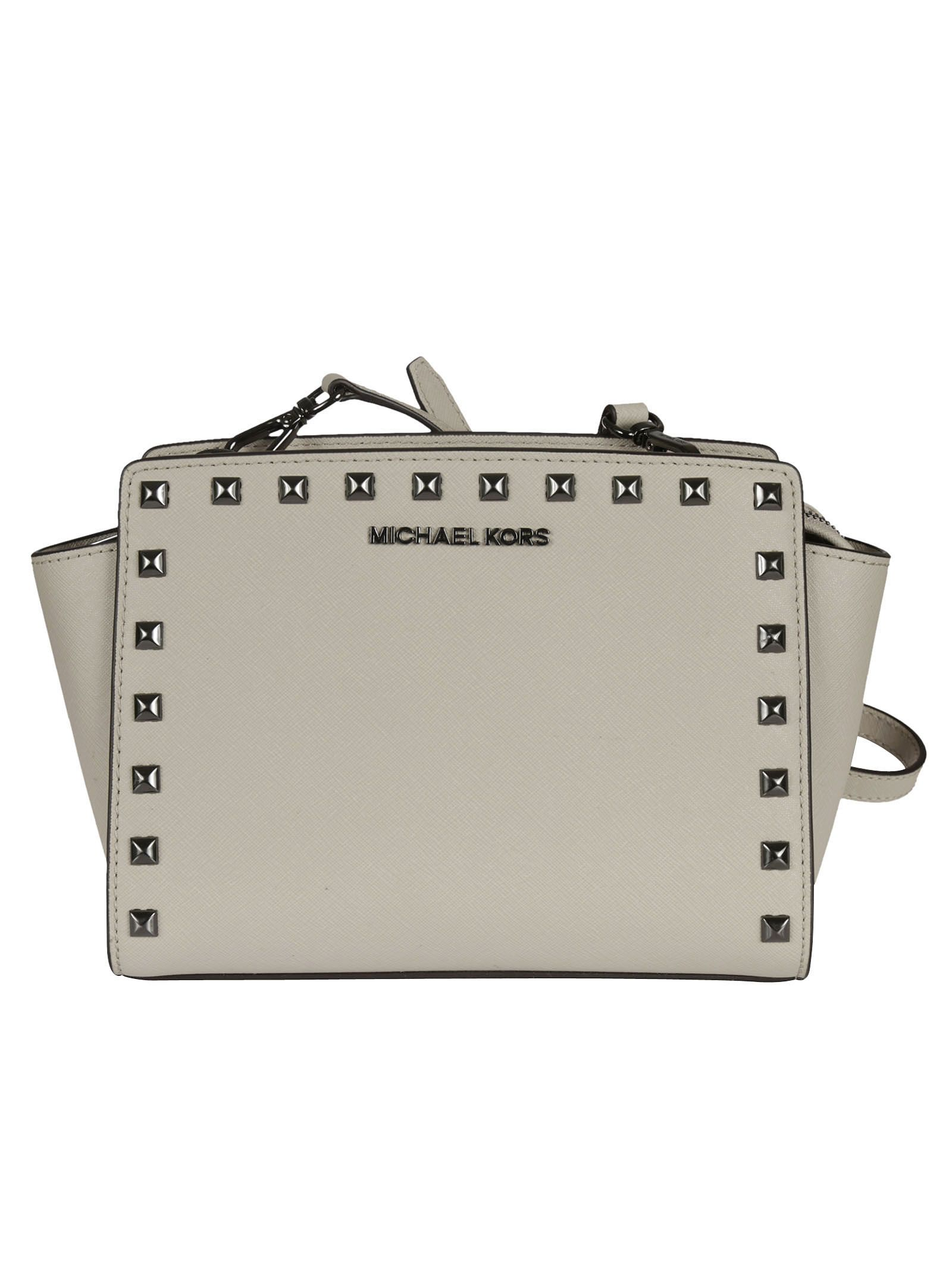 michael kors female  cement selma studded medium messenger