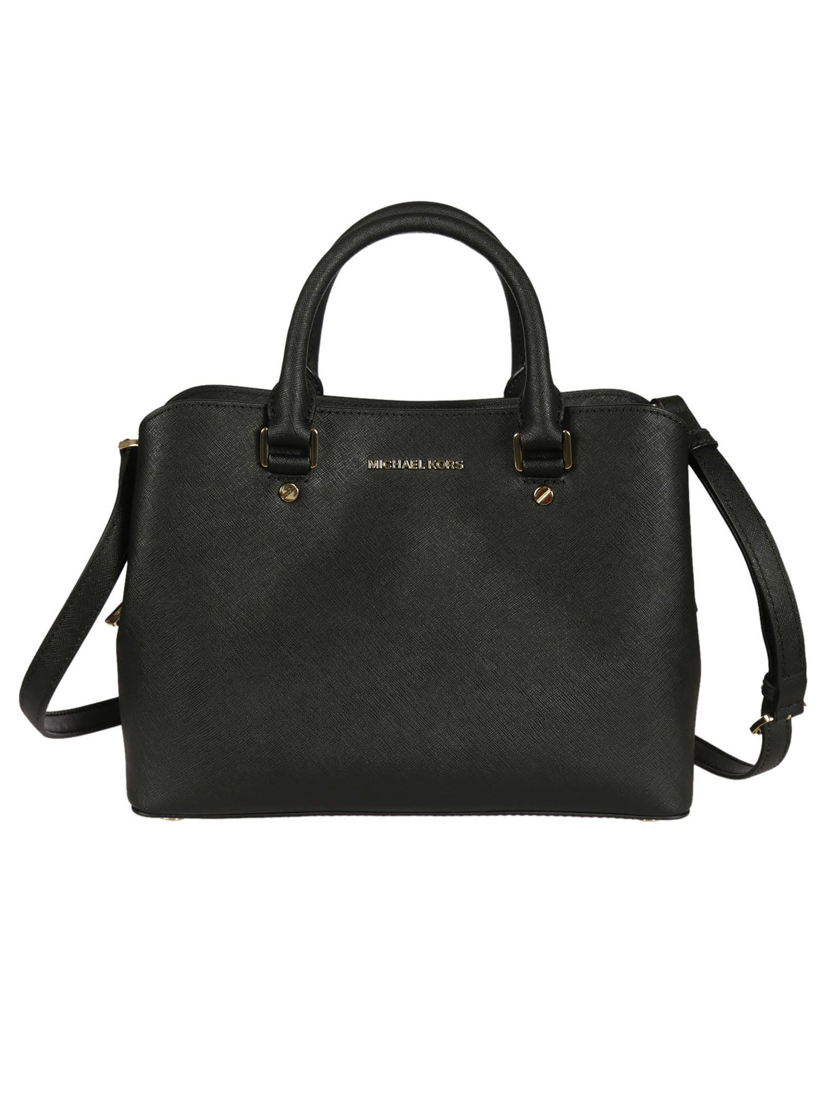 michael kors female 188971 black savannah medium satchel