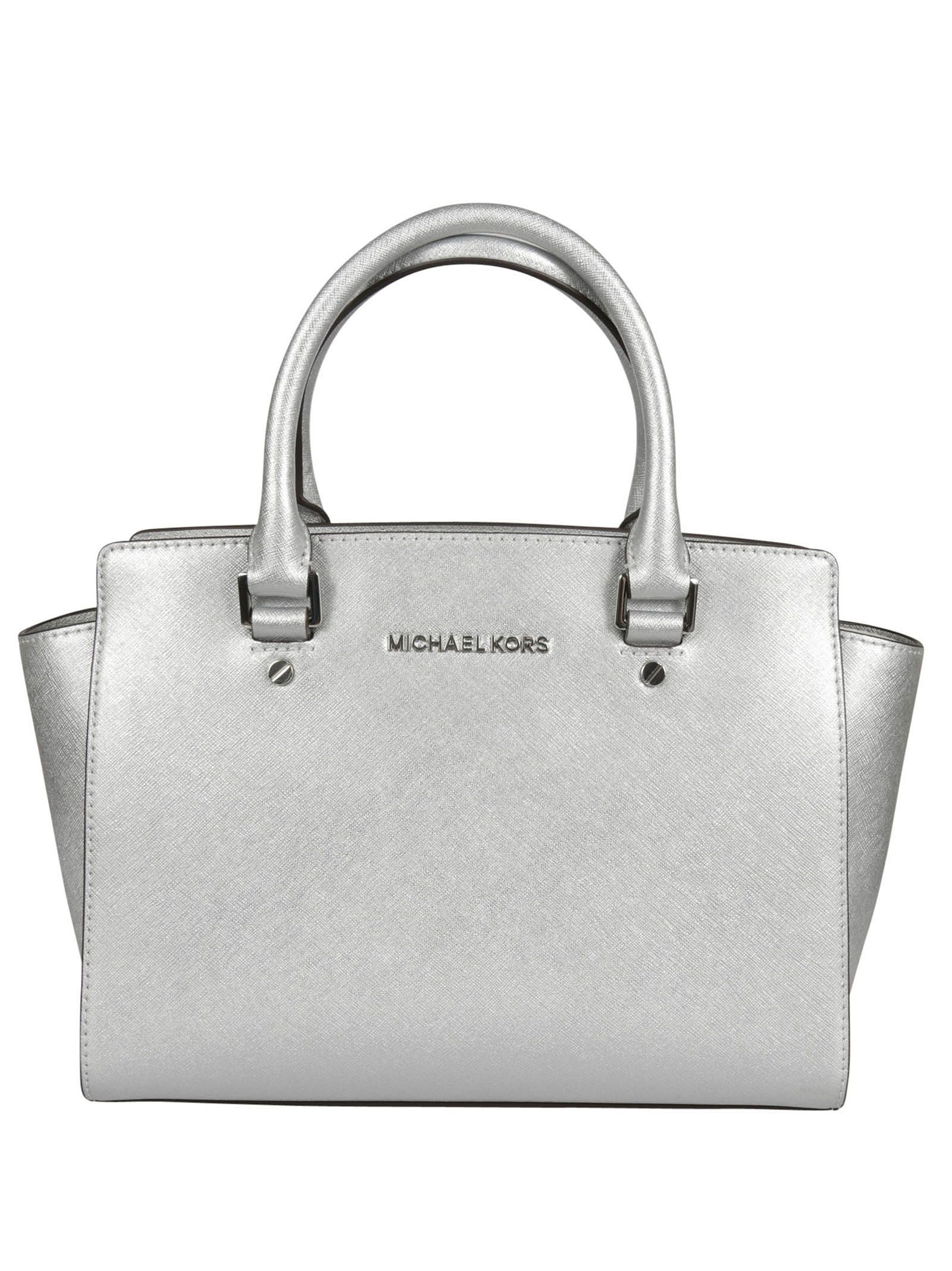 michael kors female 45900 silver metal selma medium satchel