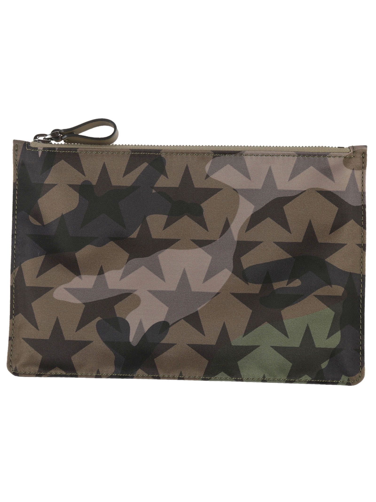 Military Green Star Printed Flat Small Pouch