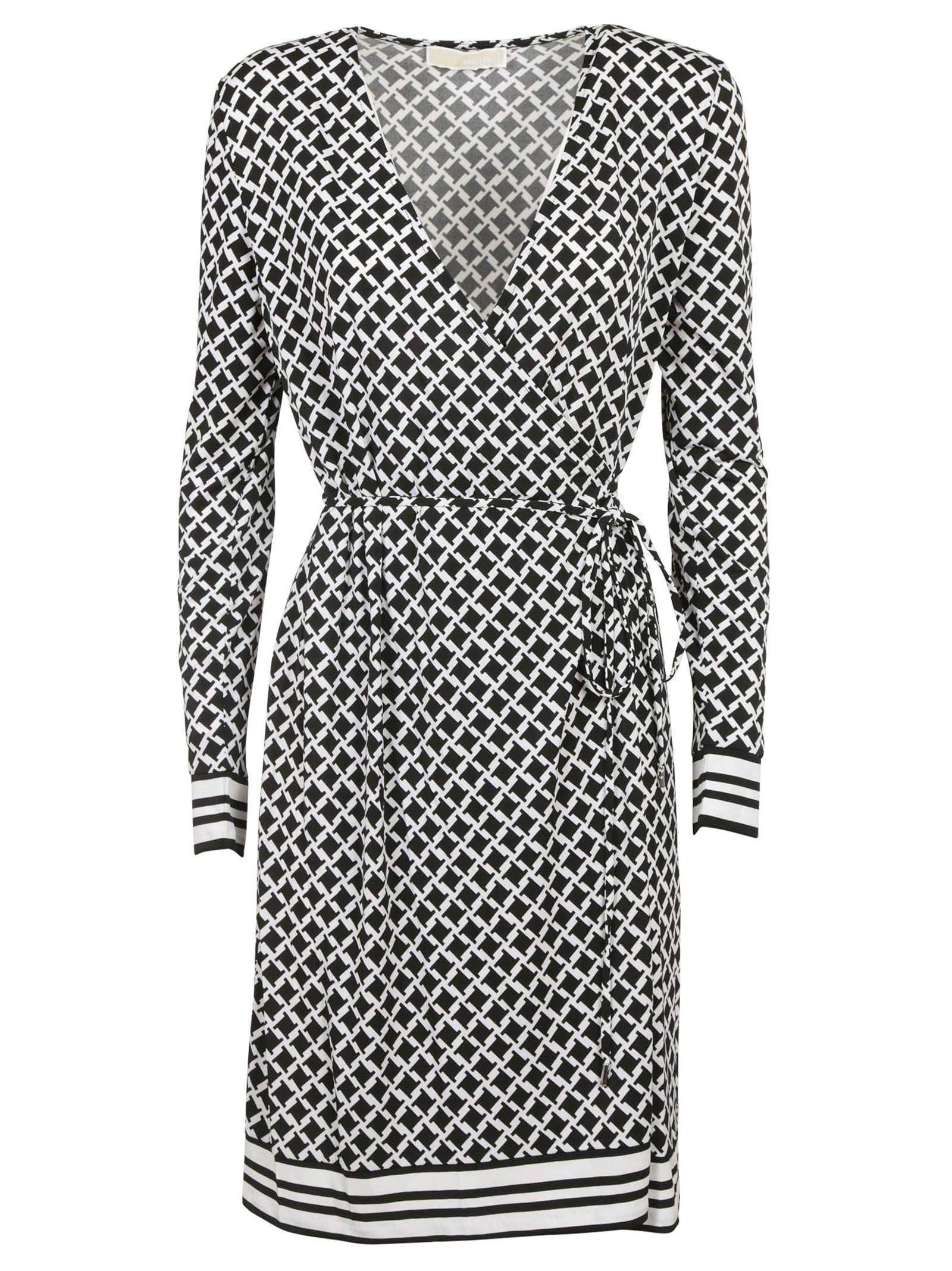 michael kors female 188972 black and white interlaced jersey dress