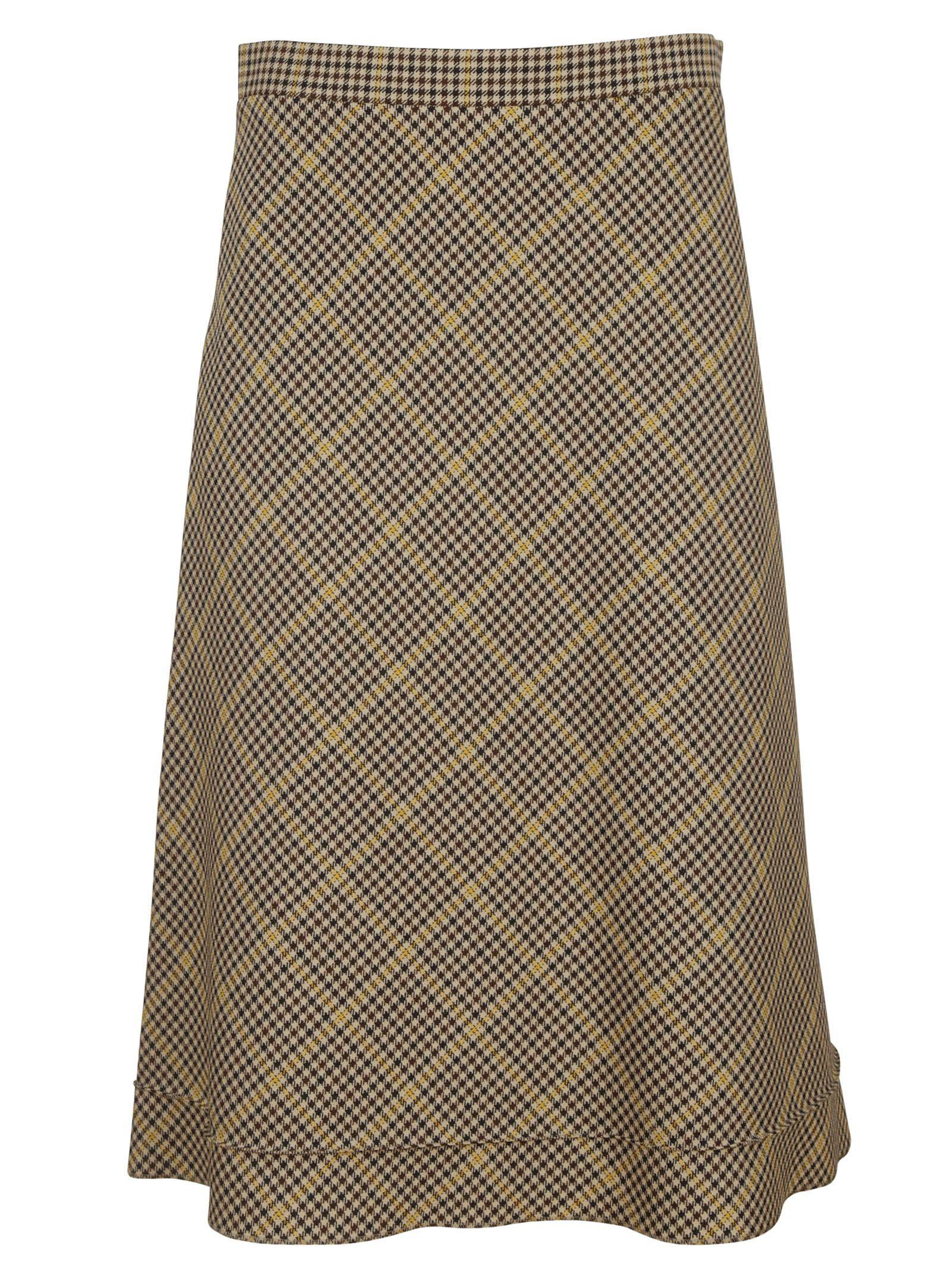 Brown Pied De Poule Flared Skirt - Balenciaga - Circus