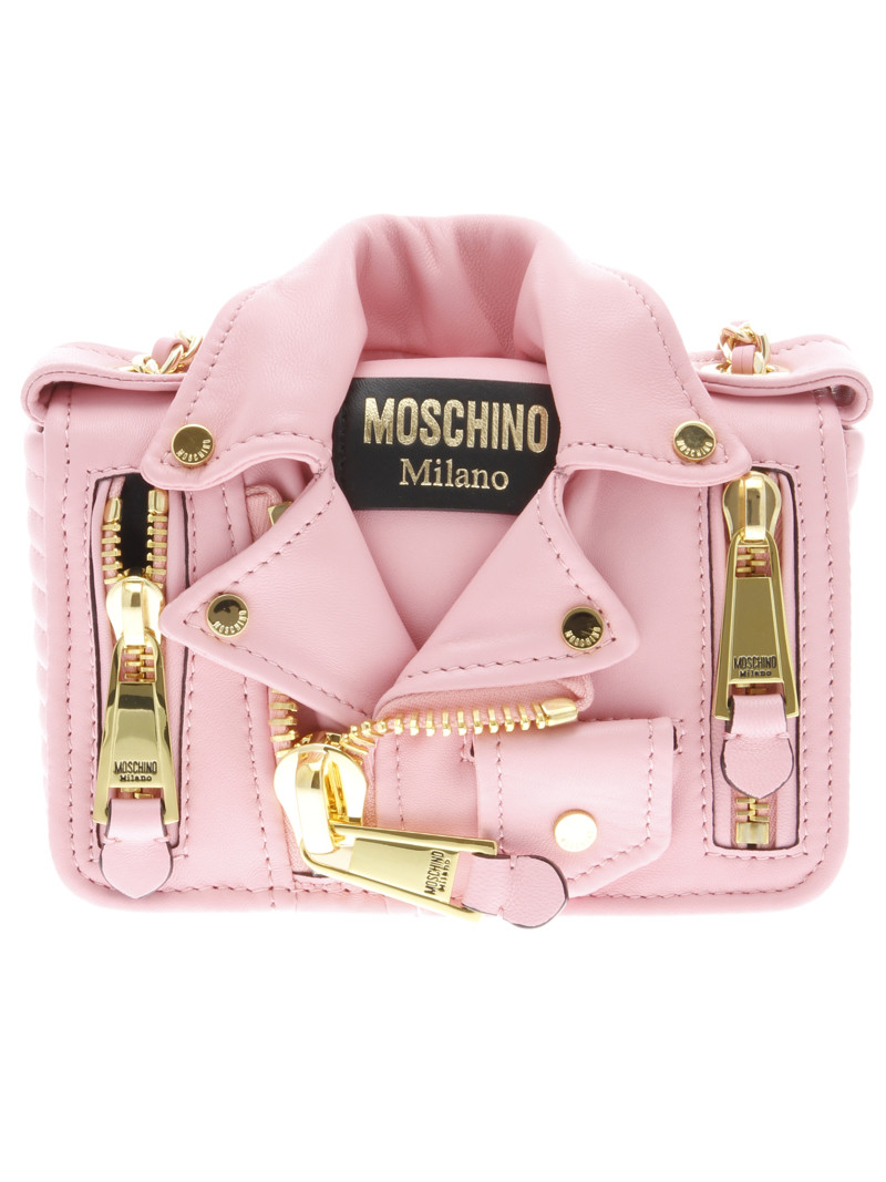 Moschino Shoulder Bag- leather and gold-tone chain shoulder strap- front flap with magnetic button closure- one internal slip pocket- two external zipped pocket- measurements H 12cm W 19cm D 6cm