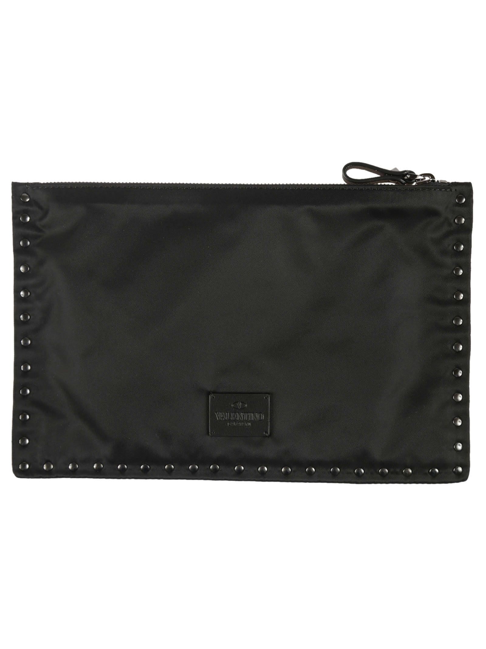 Black Studded Flat Large Pouch