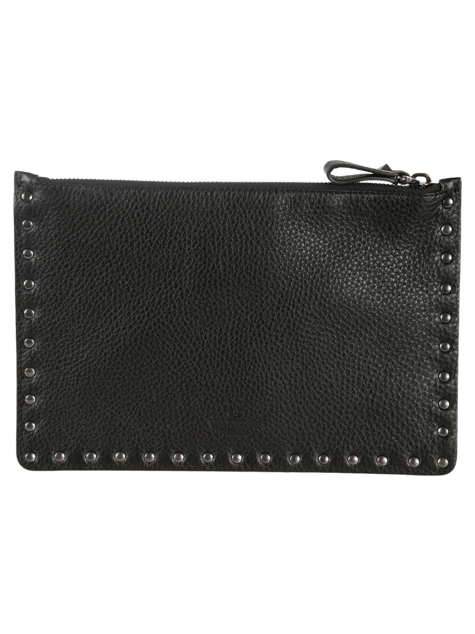 Studded Leather Flat Small Pouch