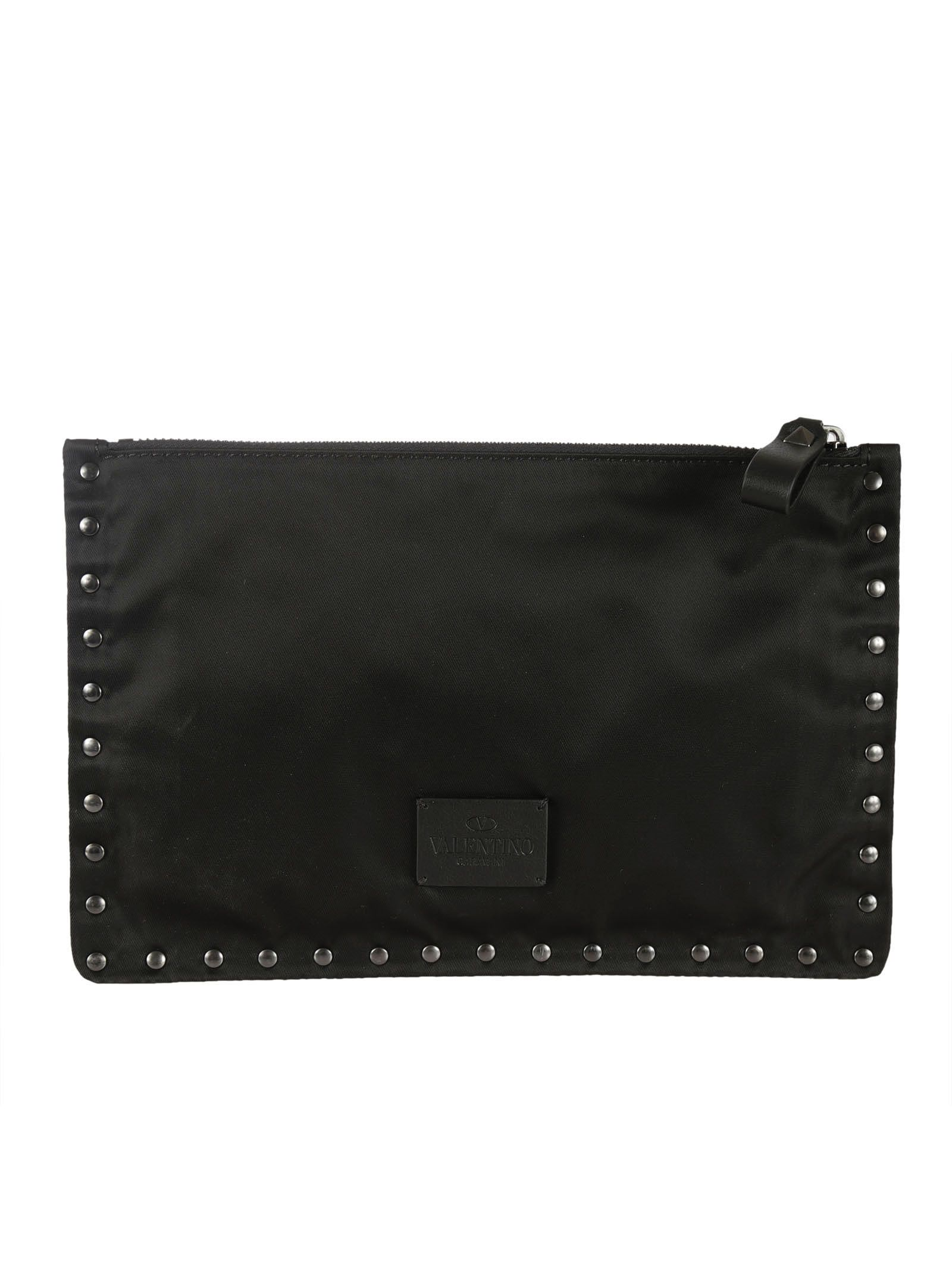 Black Studded Flat Small Pouch