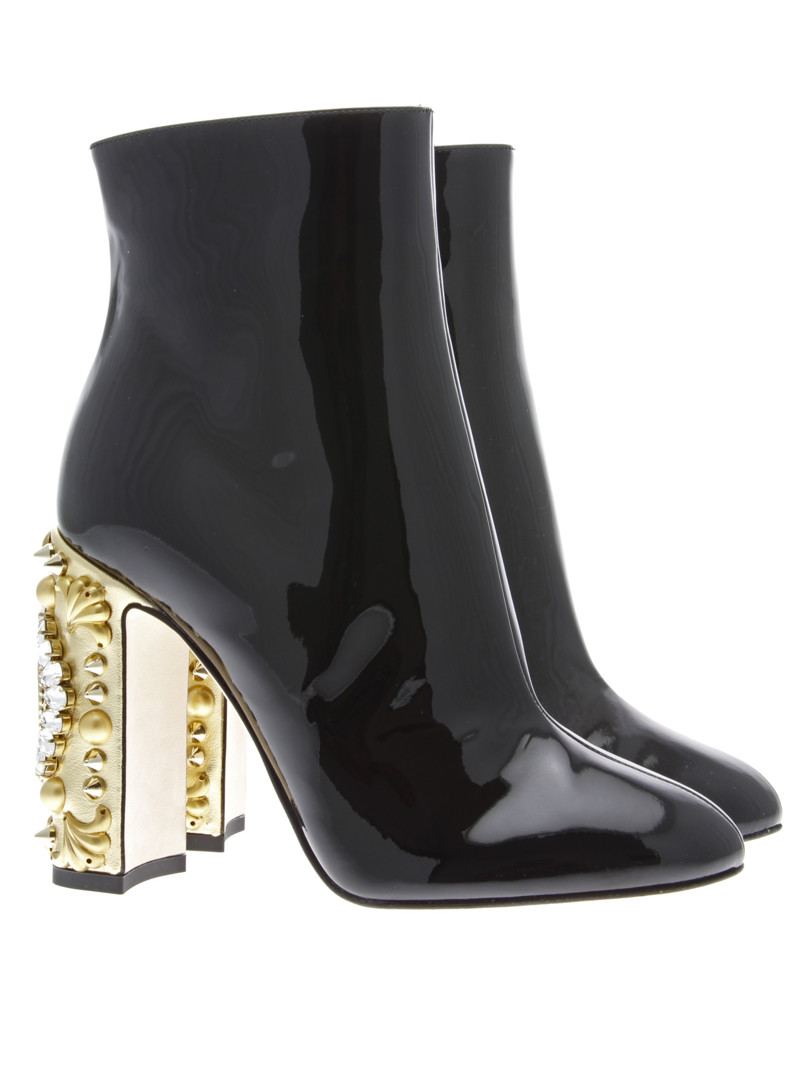 "CLOCK"" Patent Leather Ankle Boot - Dolce & Gabbana - Luxury Addicted"