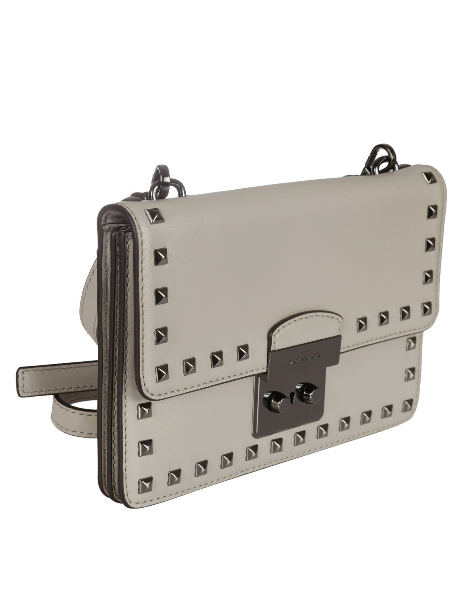 michael kors female  cement studded flat messenger