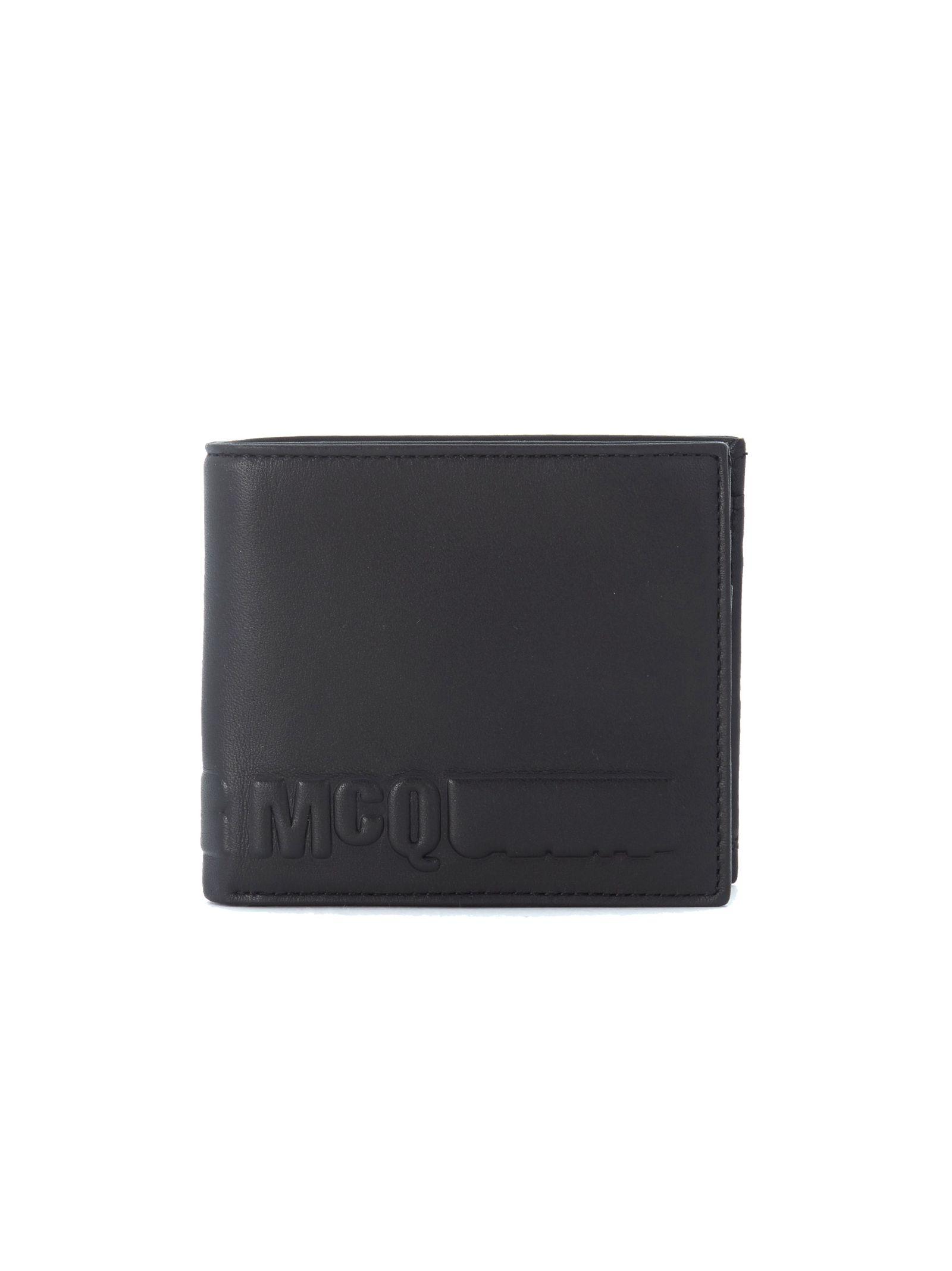Portafoglio Mcq In Pelle Nera Con Logo Stampato In Rilievo