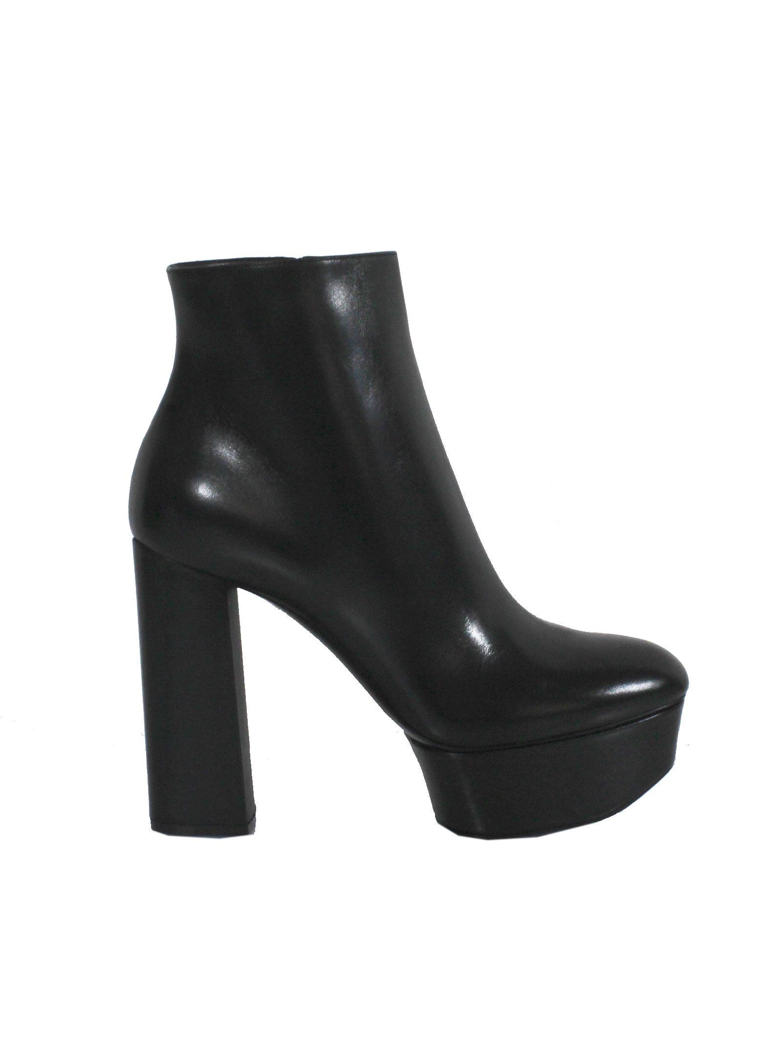 Black Leather Ankle Booties - Casadei - Circus