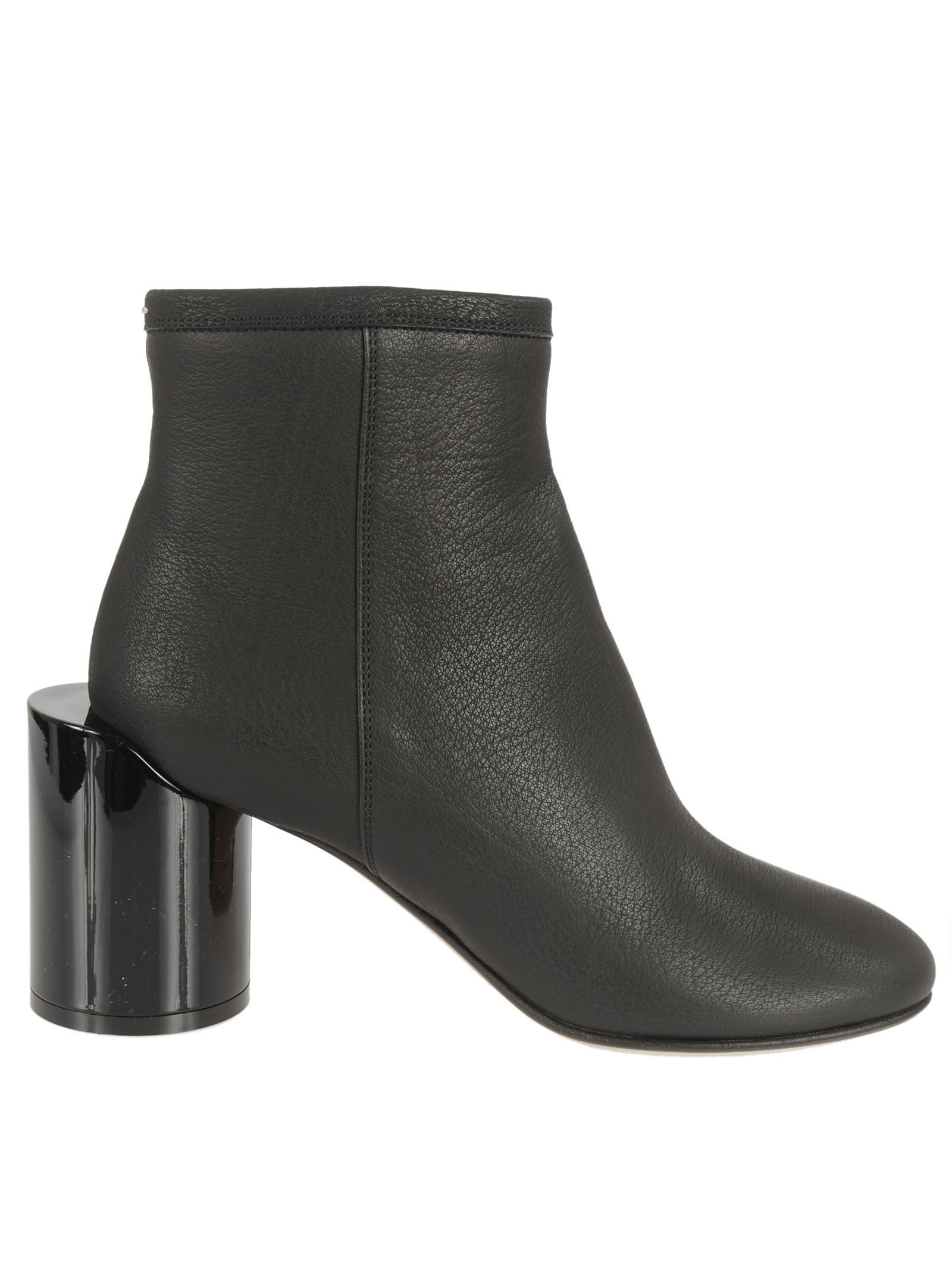 Large Heel Ankle Boots from Maison Margiela: Black Large Heel Ankle Boots with cylindrical heel, side zip closure and round toe line