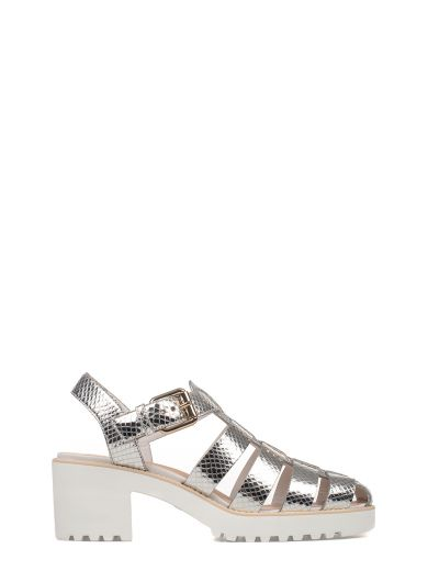 Silver Leather Heeled Sandal