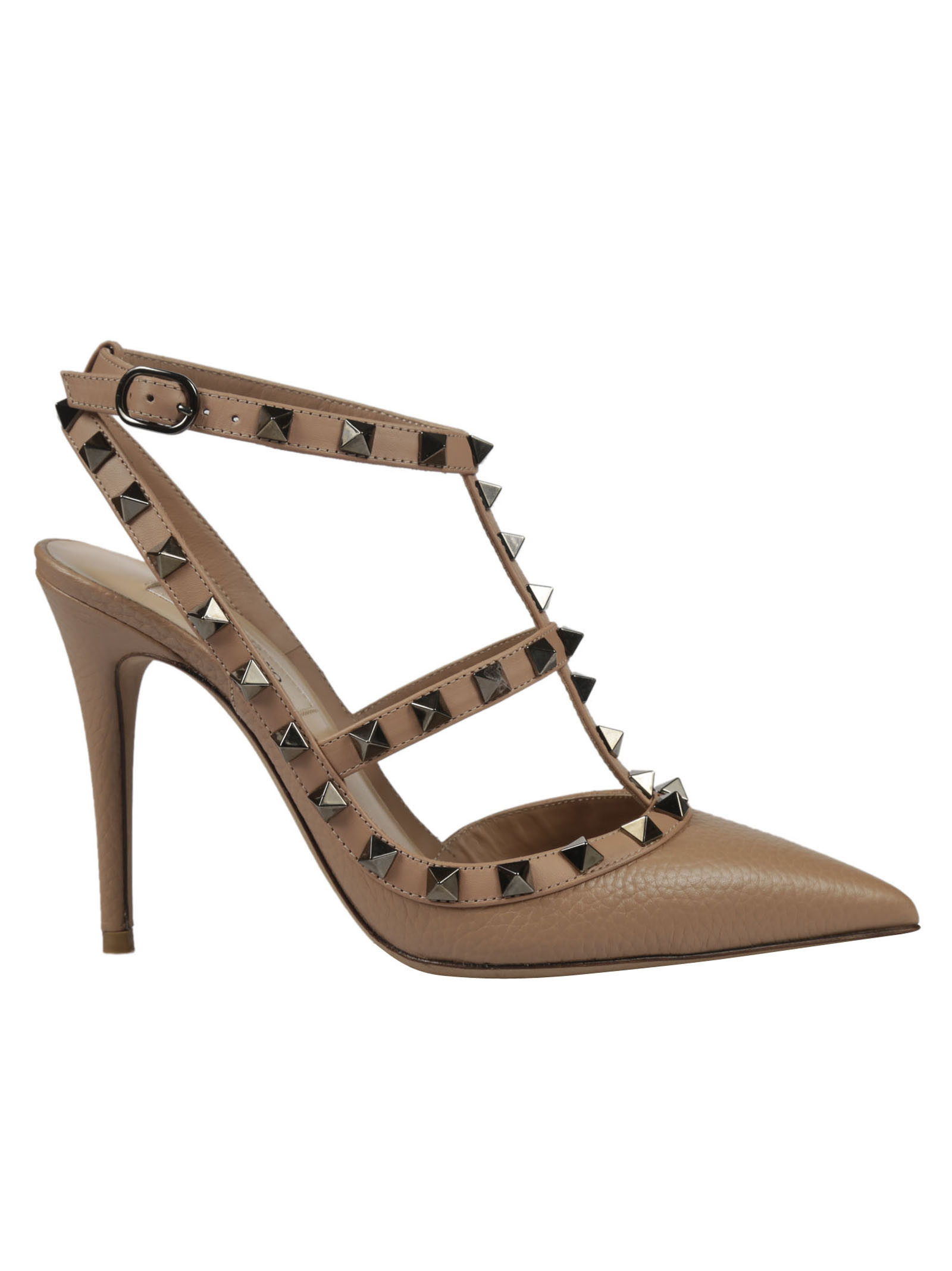 Rockstud Pumps from Valentino: Soft Hazelnut Rockstud Pumps with pointed toe, branded insole, rockstud detail and ankle strap with buckle closure.