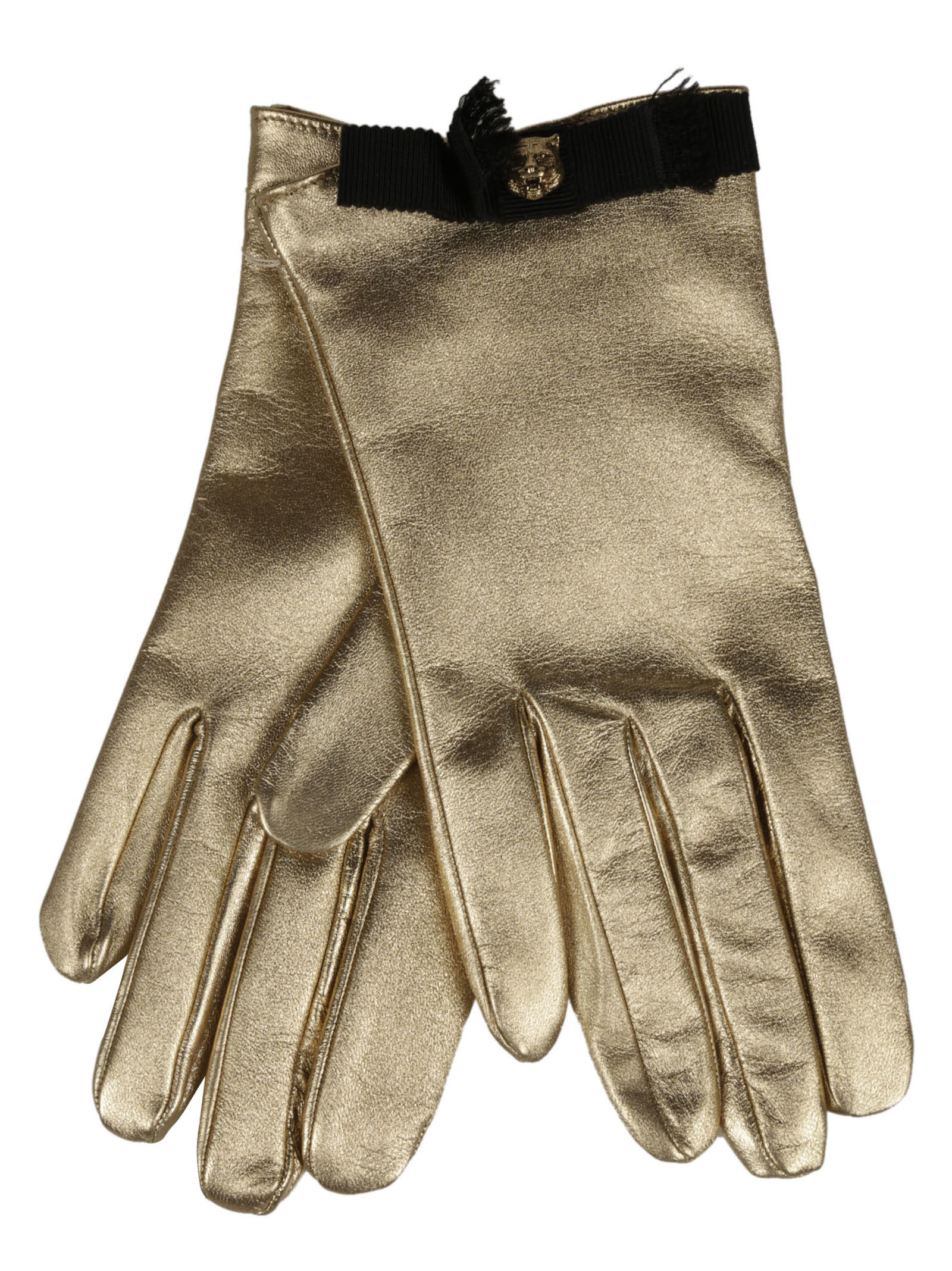 gucci female 224337 gucci metallic leather gloves