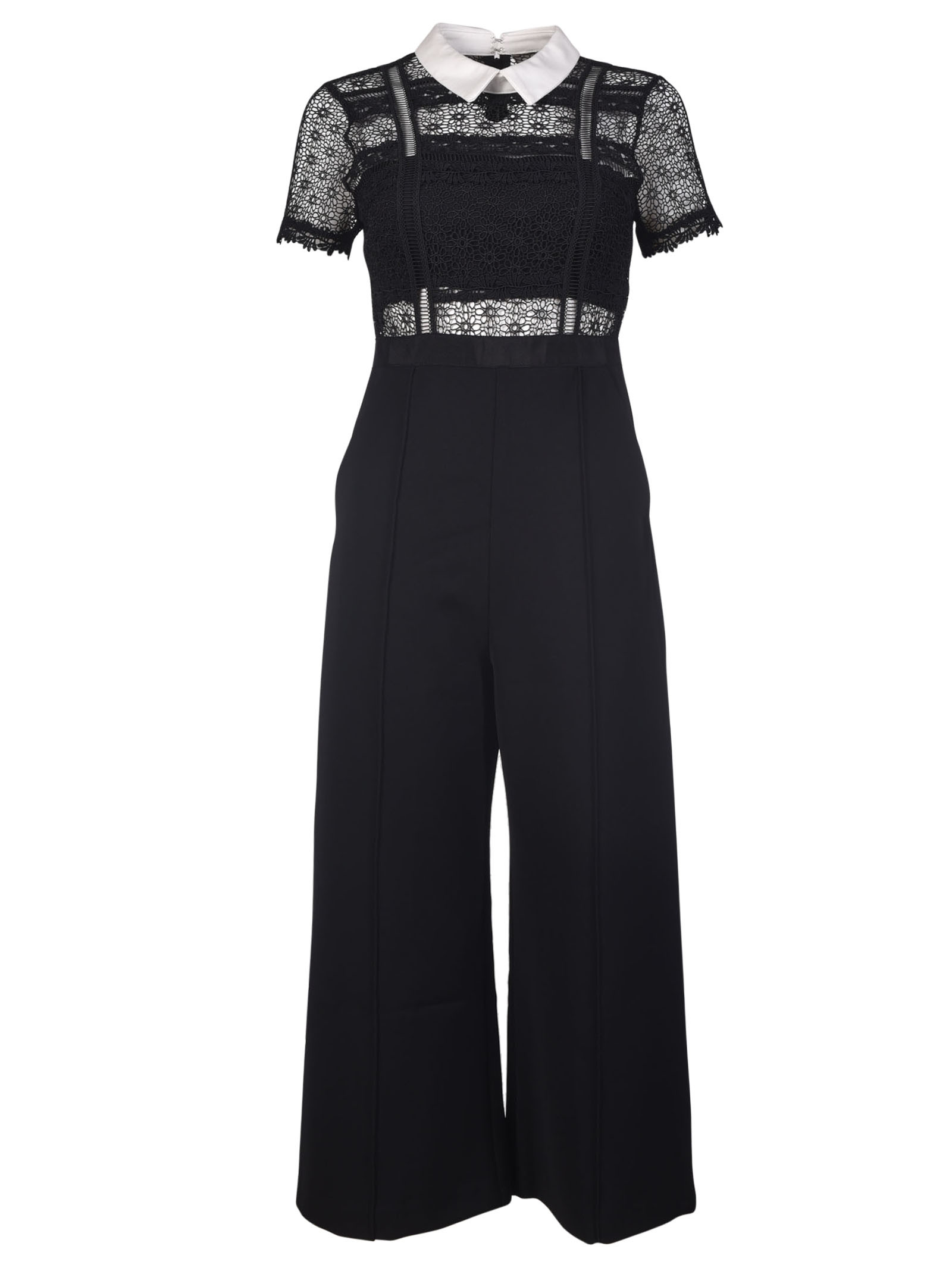 Self Portrait Fleur Lace Panel Jumpsuit