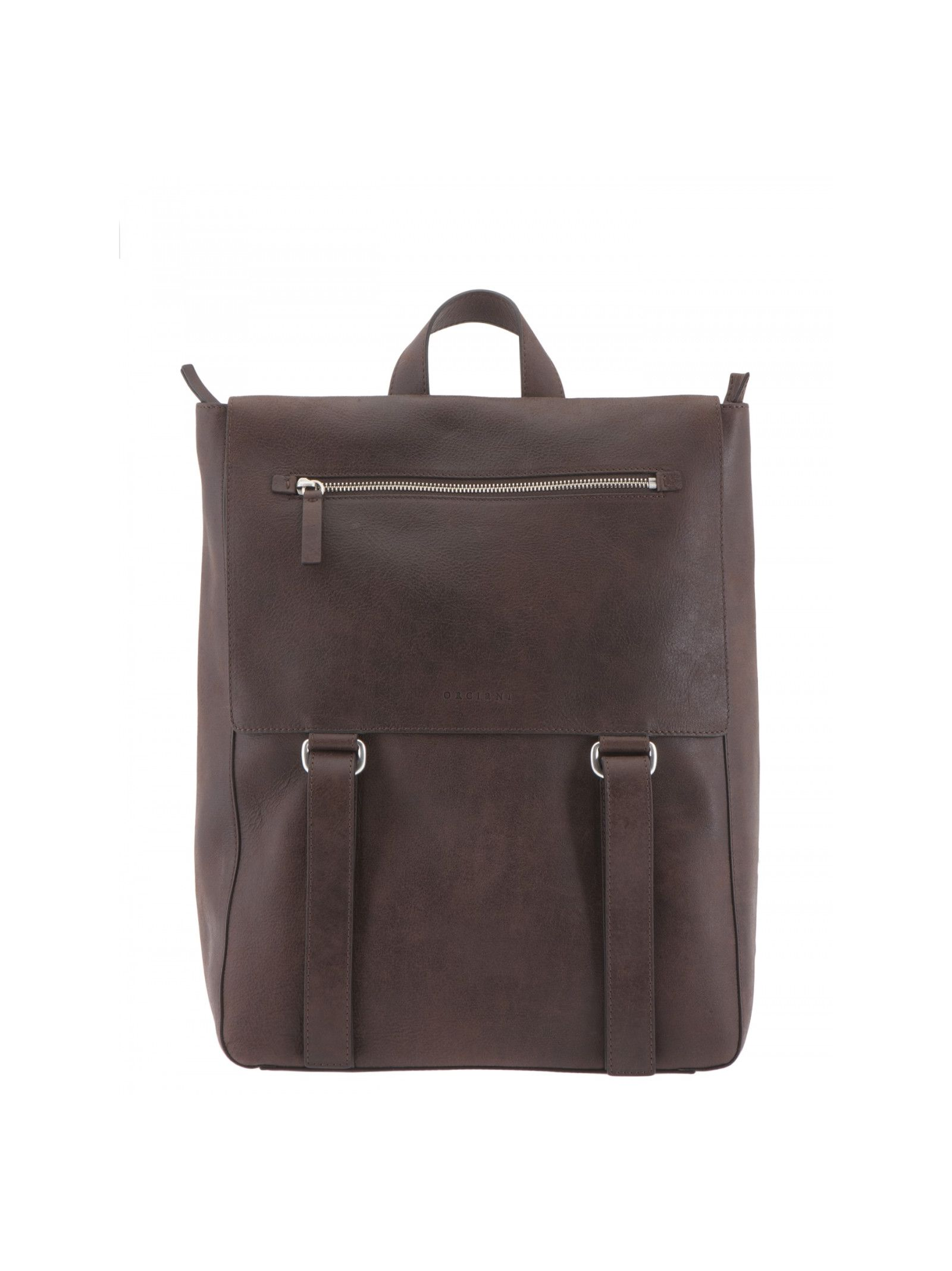 Aged leather backpack Height: 41 cm Width: 31. 5 cm Depth: 13 cm Fastening: Flap, zip Details: Aged leather backpack, Adjustable braces, Closure with flap, snap buttons and zip, One front pocket with zip, One open internal pocket, Suede lining