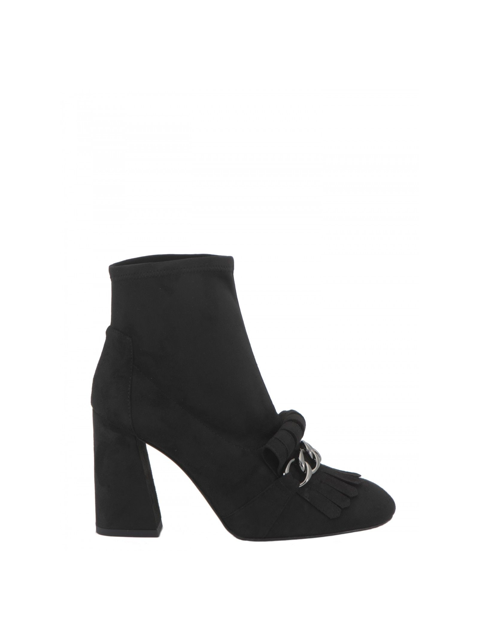 Suede ankle boots Hill: 10 cm Details: Suede ankle boots, Block heel, Round toe, Tassels with metal detailing at toe cap, Fabric lining
