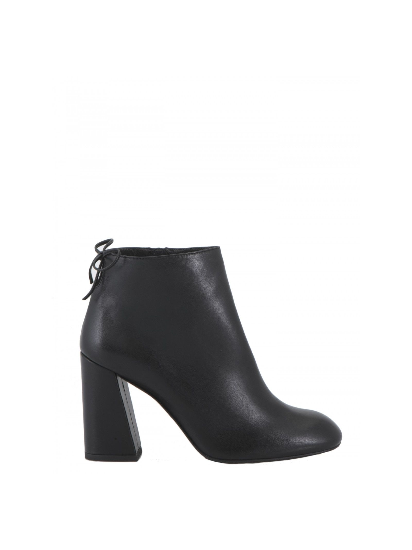 Leather ankle boots Hill: 10 cm Details: Smooth leather ankle boots, Block heel, Round toe, Side zip, Leather laces at back, Leather lining