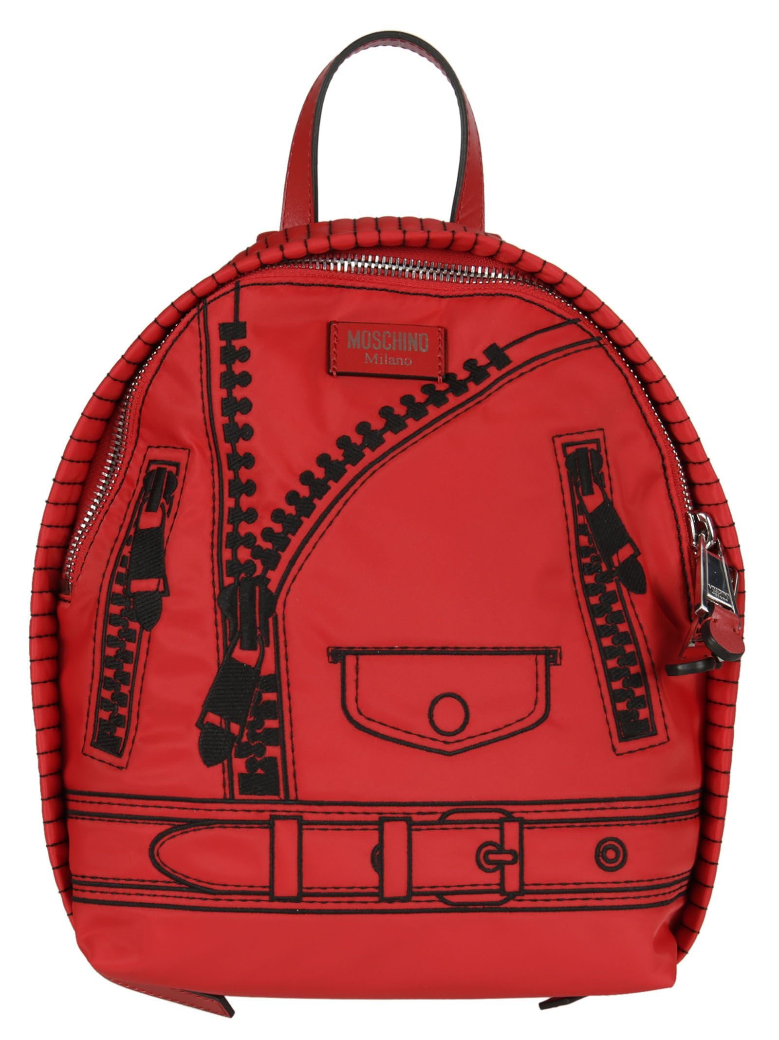Zipper Design Backpack from Moschino: Red Zipper Design Backpack with Top handle, Adjustable Straps and Two way Zip fastening.