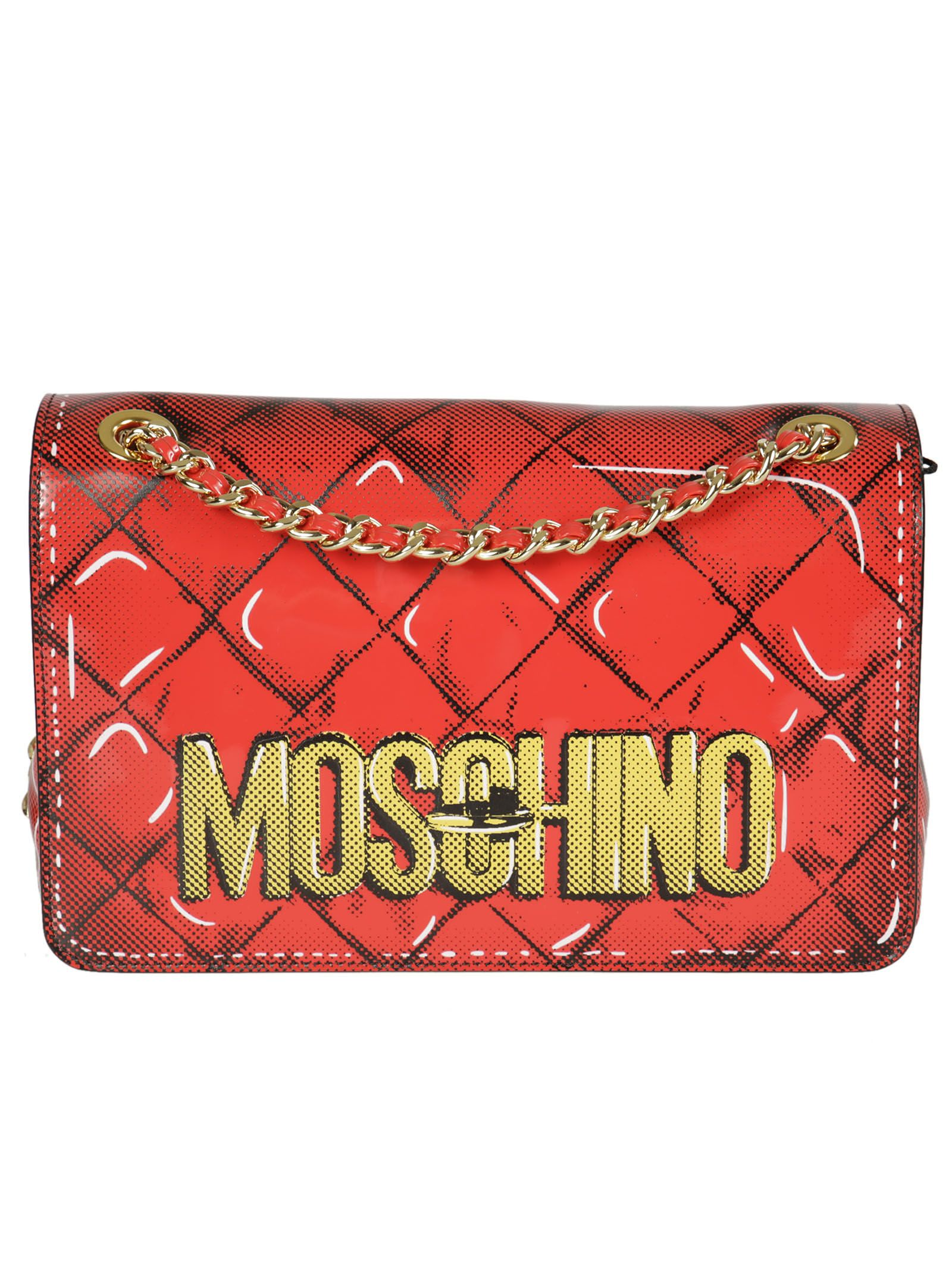 Trompe-l'oeil Shoulder Bag from Moschino: Red Trompe-l'oeil Shoulder Bag with Foldover top, Snap Closure, Chain Strap, Gold-tone Hardware, Logo stamp and Patch pocket.