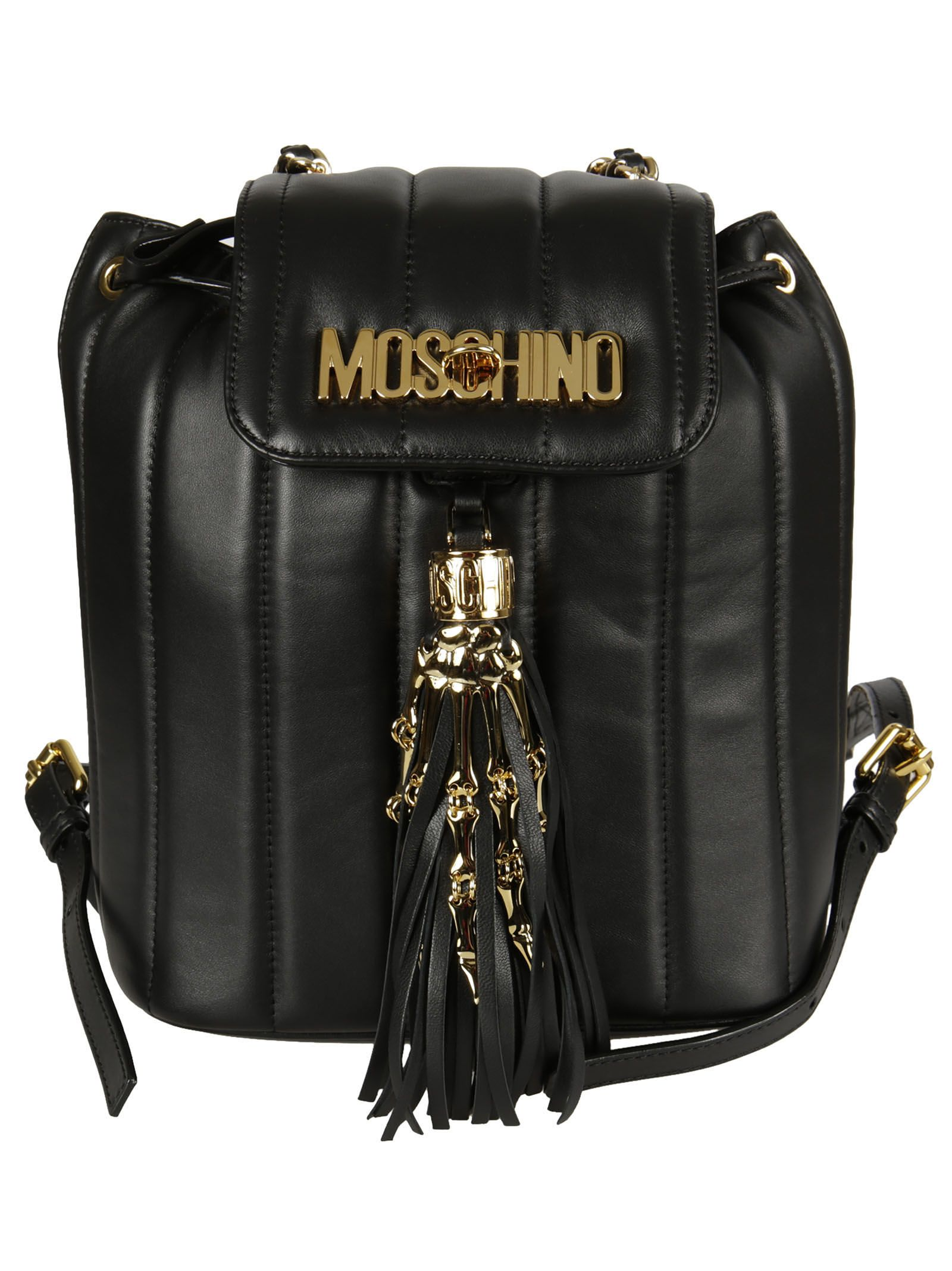 Logo Backpack from Moschino: Black Logo Backpack with solid colour, logo on front, framed closure and tassel design