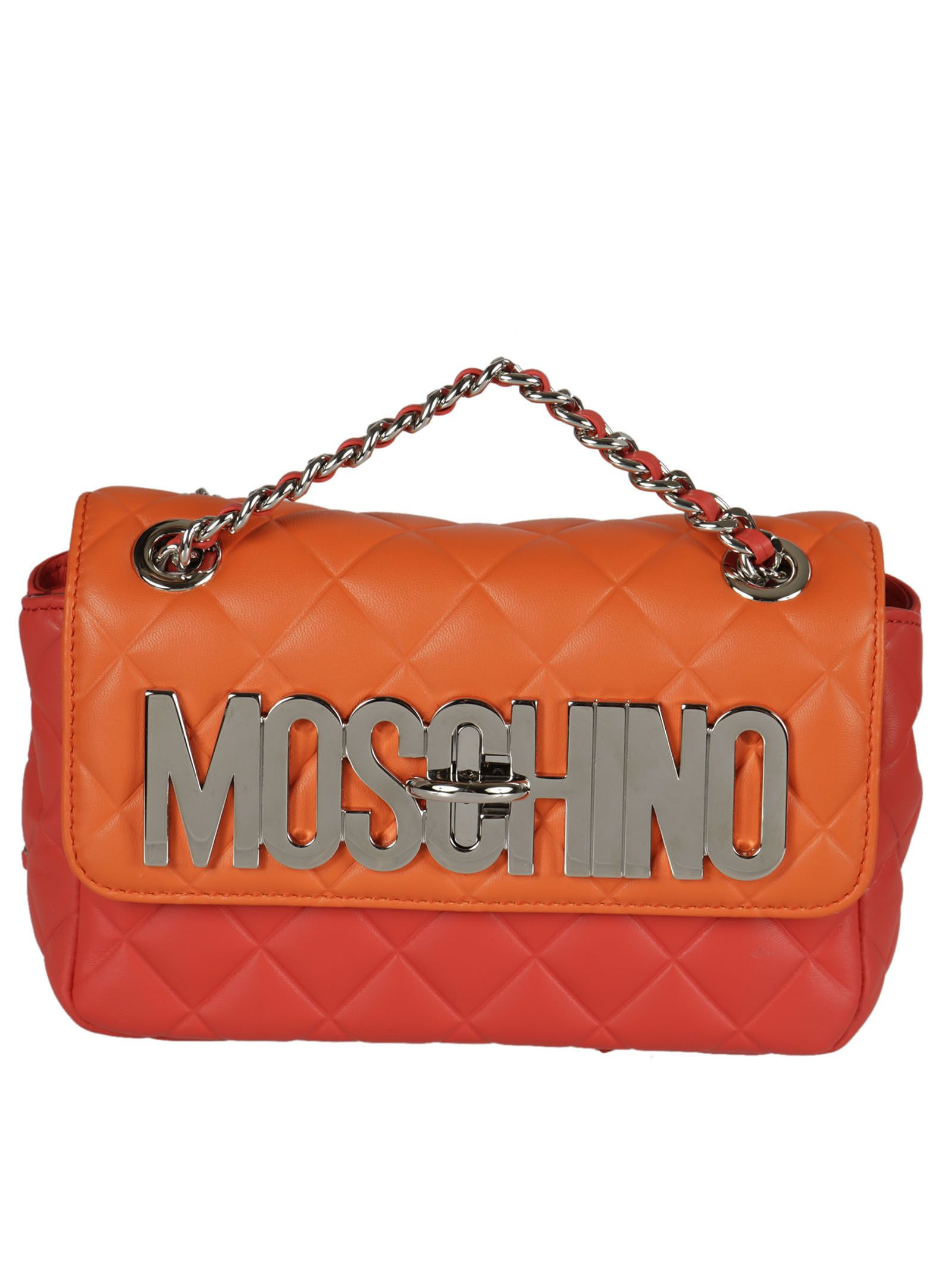 Logo Plaque Shoulder Bag from Moschino: Red/Orange Logo Plaque Shoulder Bag with Twist-lock closure, Chain Strap, Internal pocket and Internal Logo stamp.