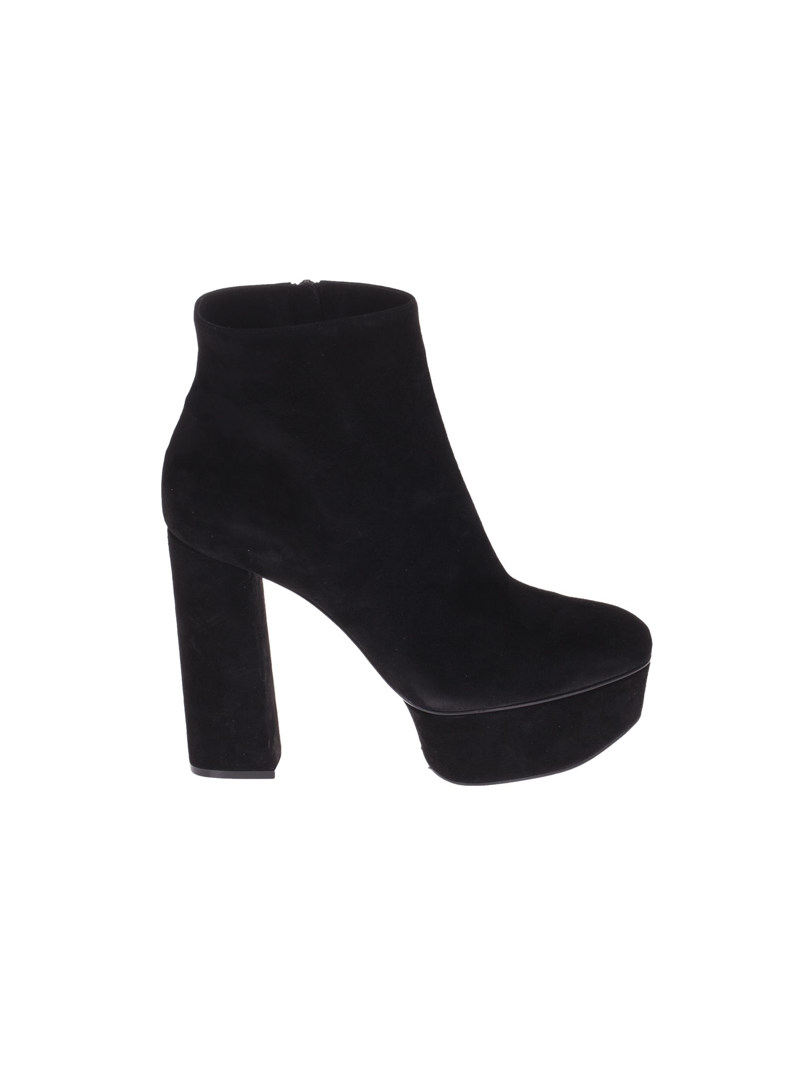 Platform Ankle Boots from Casadei: Black Platform Ankle Boots with round toe, branded insole and side zip fastening. -100% Chamois Leather -heel 115 mm - platform 40 mm -height 11 cm