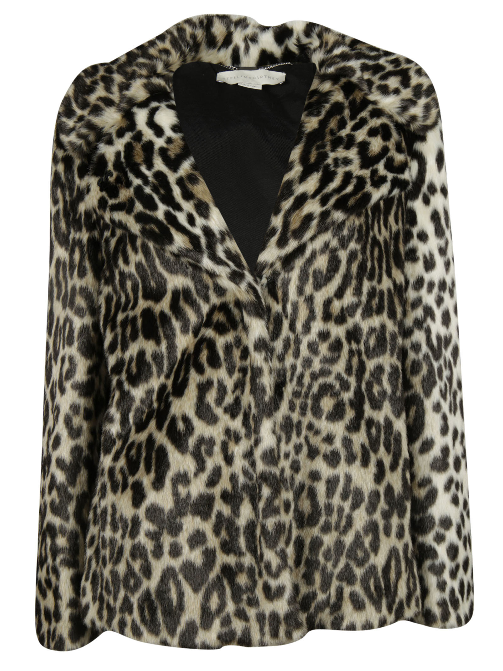 Leopard Print Dan Coat from Stella McCartney: Beige/Black Leopard Print Dan Coat with peaked lapels, front hook and eye lock, side pockets, long sleeves and straight edge.