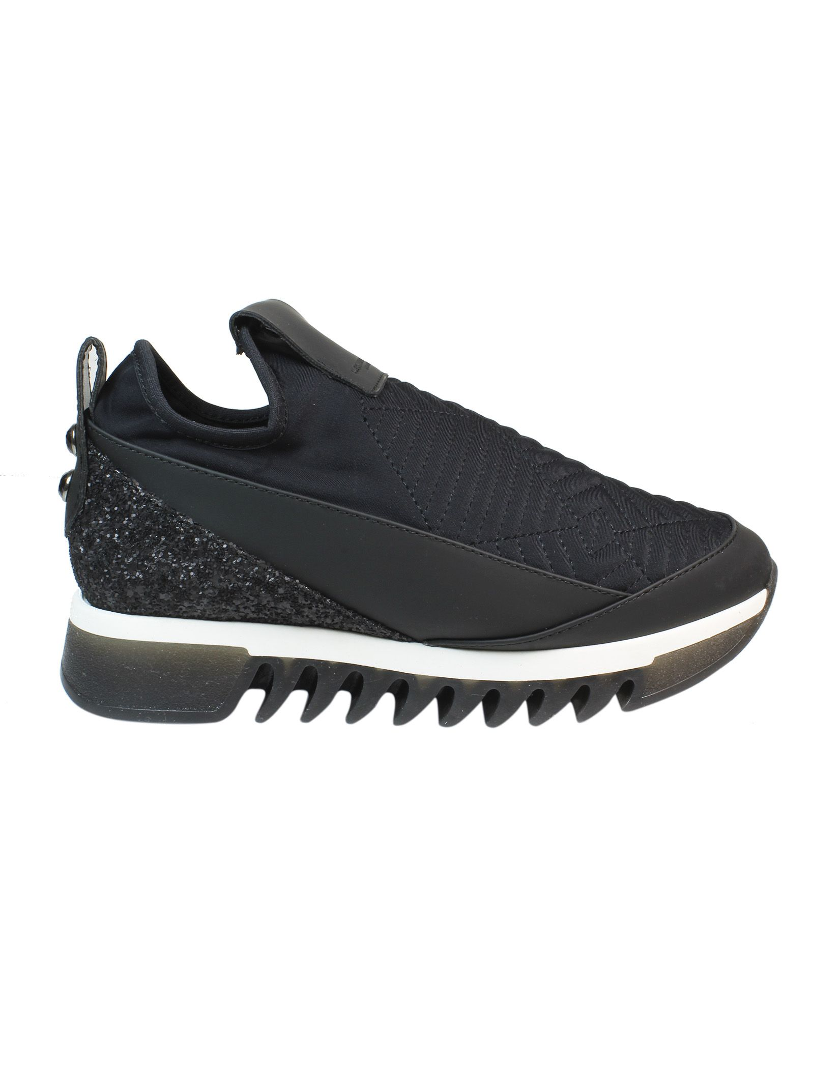 Black Quilted Effect Slip On