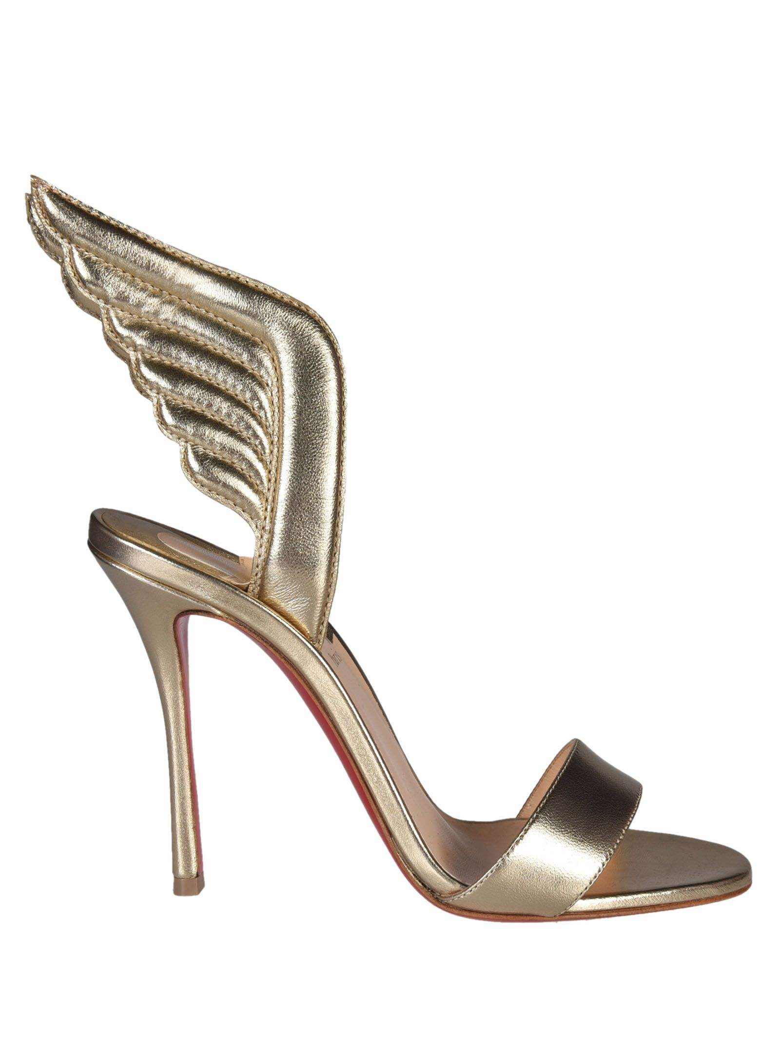 Samotresse Sandals from Christian Louboutin: Light Gold Samotresse Sandals with open toe, stiletto heel, brand insole and wings detailed design.