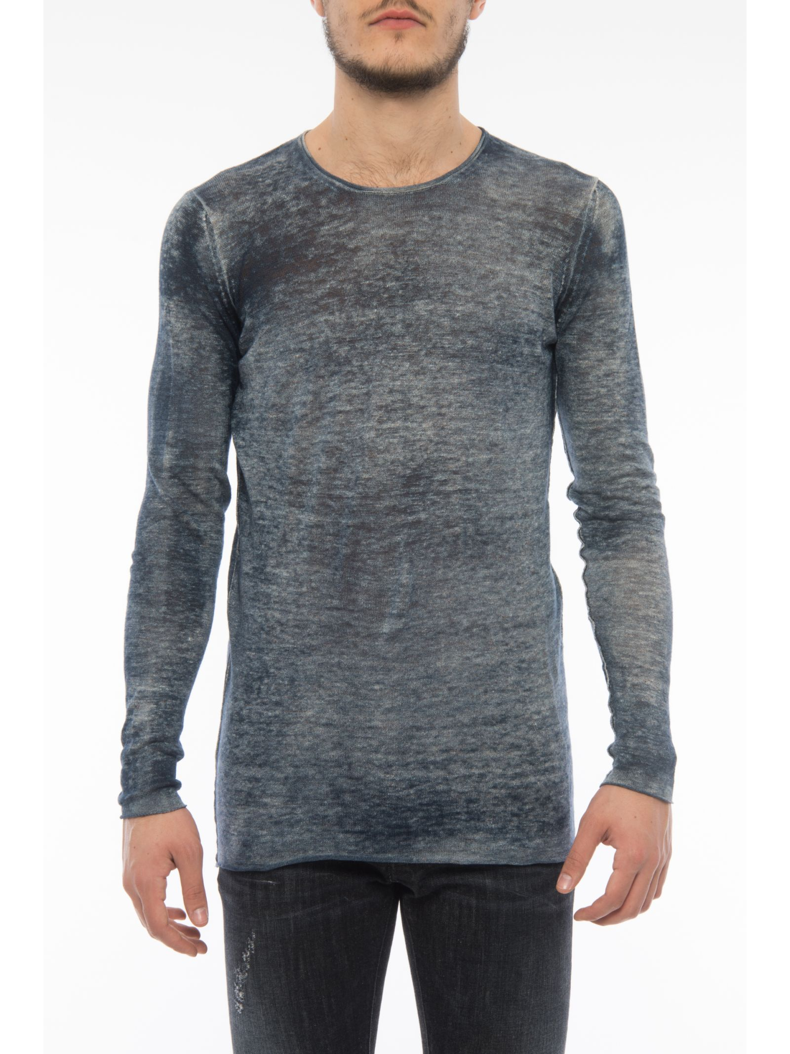 Crew Neck Pullover With Curled Hems