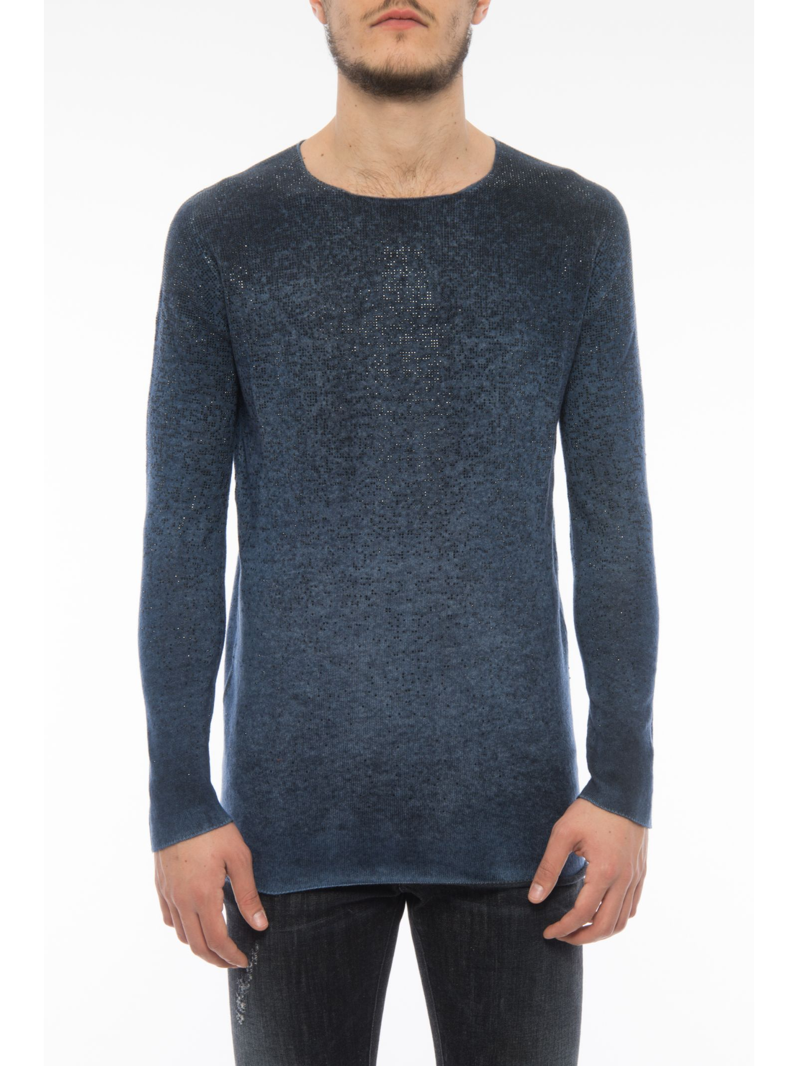 Crew Neck Pullover With Micro Beads