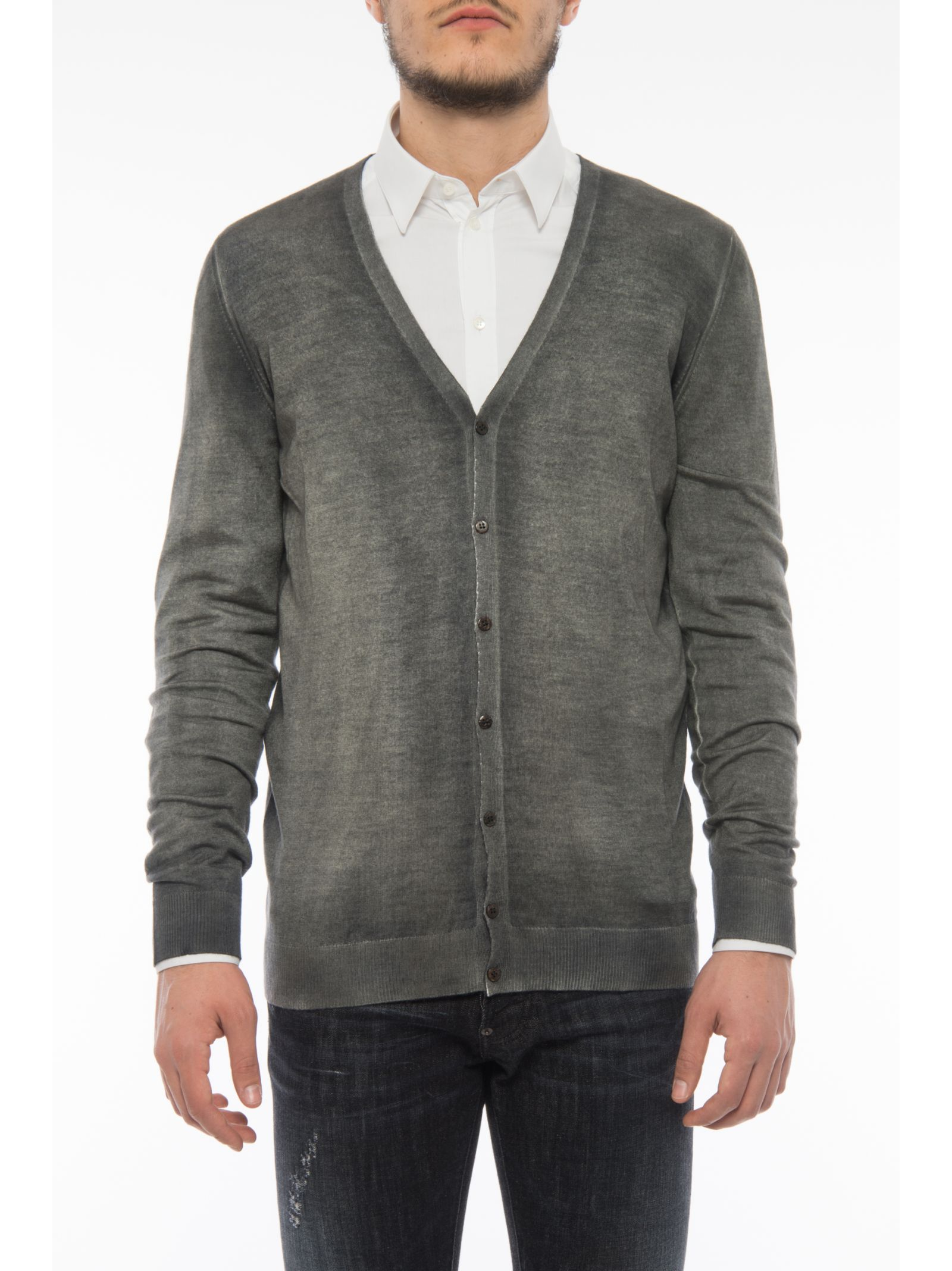 Cardigan With Ribbed V Neck
