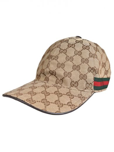 GUCCI Original Gg Leather And Canvas Baseball Cap in Neutrals