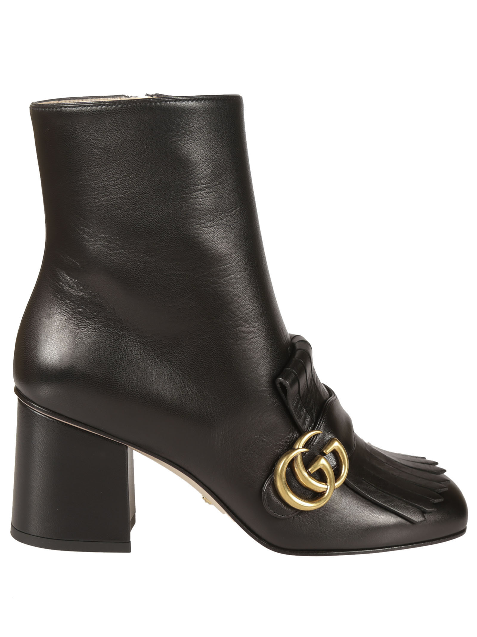 Leather Ankle Boots from Gucci: Black Leather Ankle Boots with Double G detail at front, Almond toe, Mid heel and Zip fastening at side.