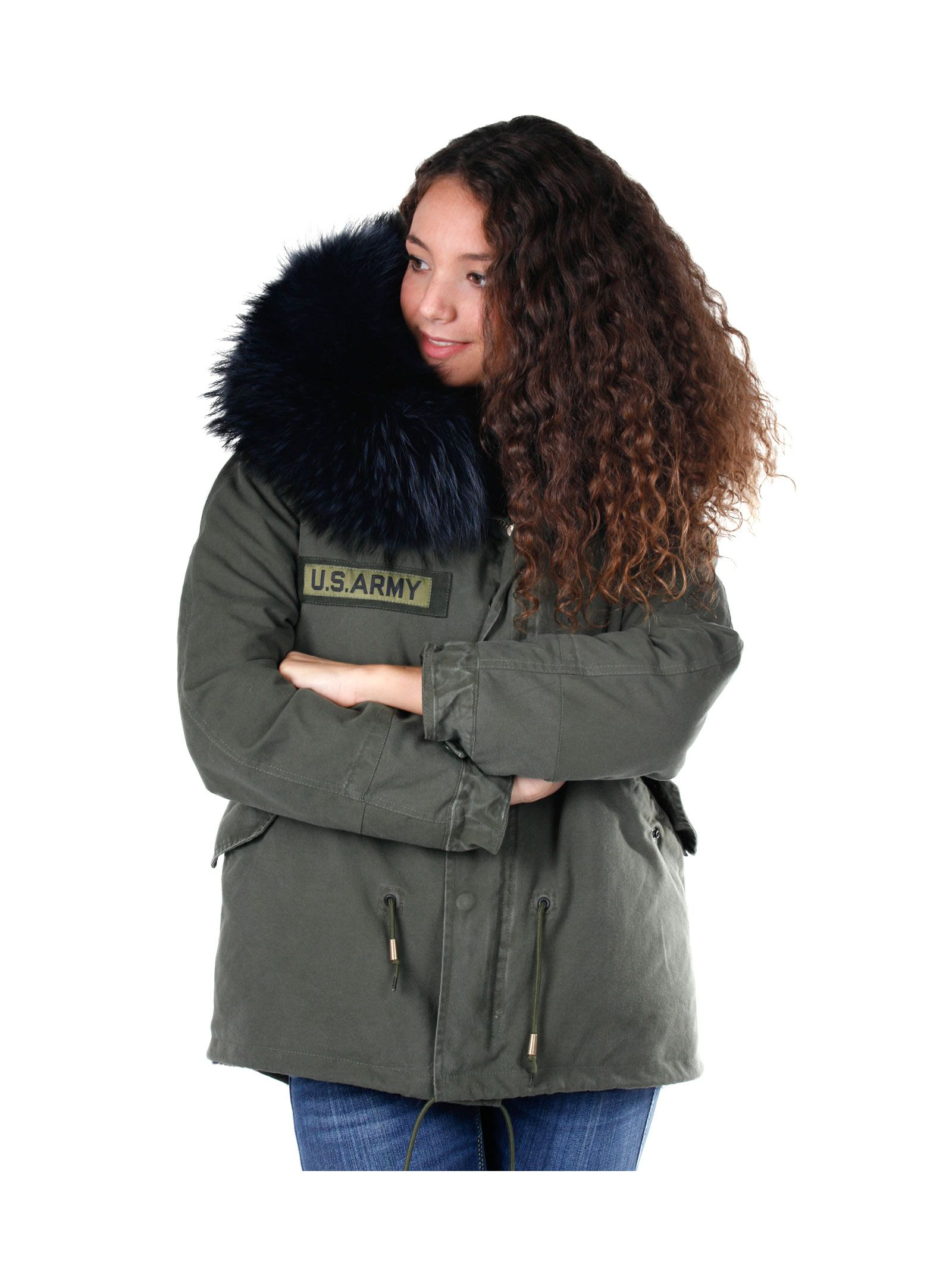 As65 Woman Green Military Parka With Black Fur