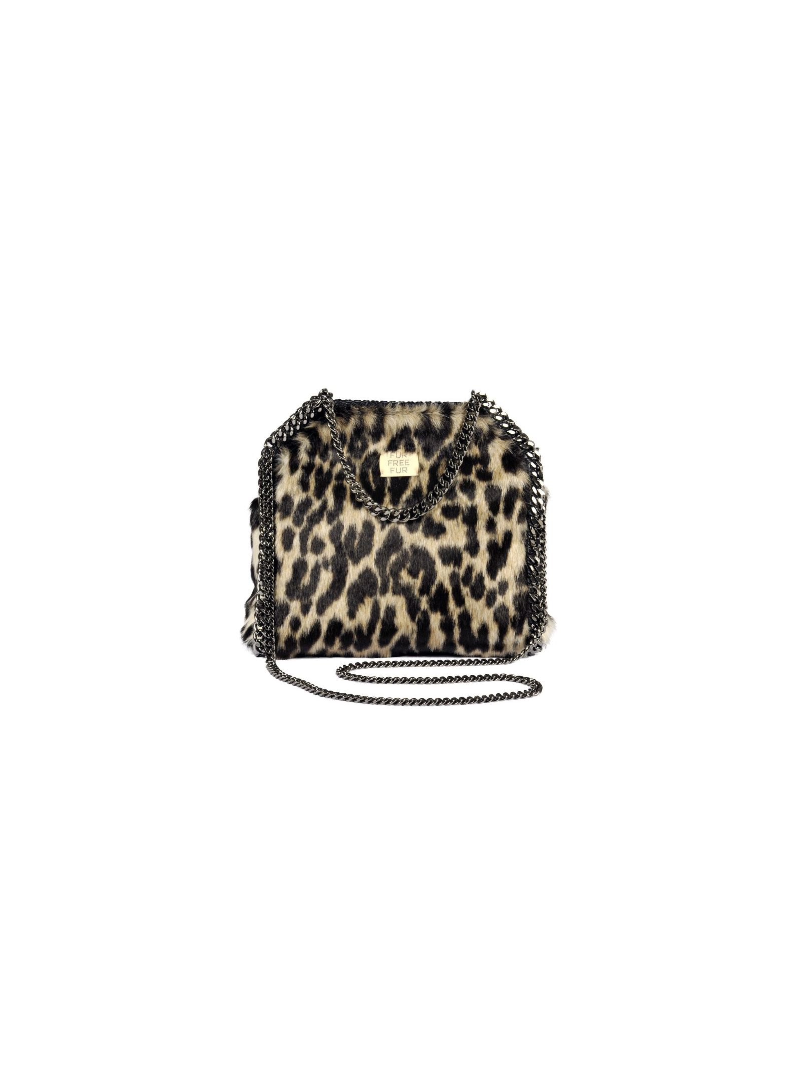 falabella shoulder bag from stella mccartney: ivory falabella shoulder bag with top handles, silver-tone chain trim, leopard print, silver-tone chain shoulder strap, top magnetic closure and internal slip pocket.