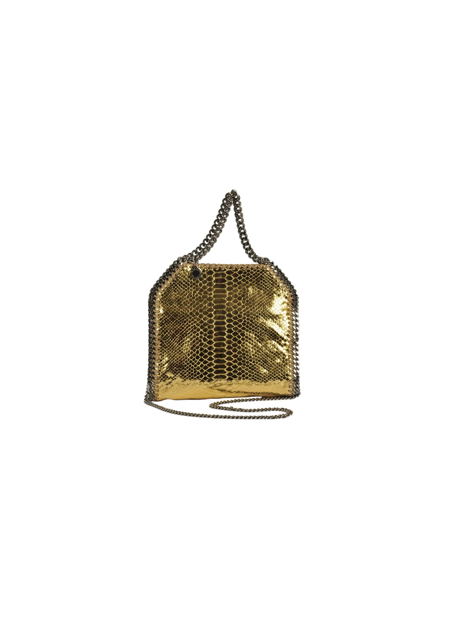 mini falabella metallic snake tote from stella mccartney: gold mini falabella metallic snake tote with top handles, silver-tone chain trim, silver-tone chain shoulder strap, top magnetic closure and internal slip pocket.
