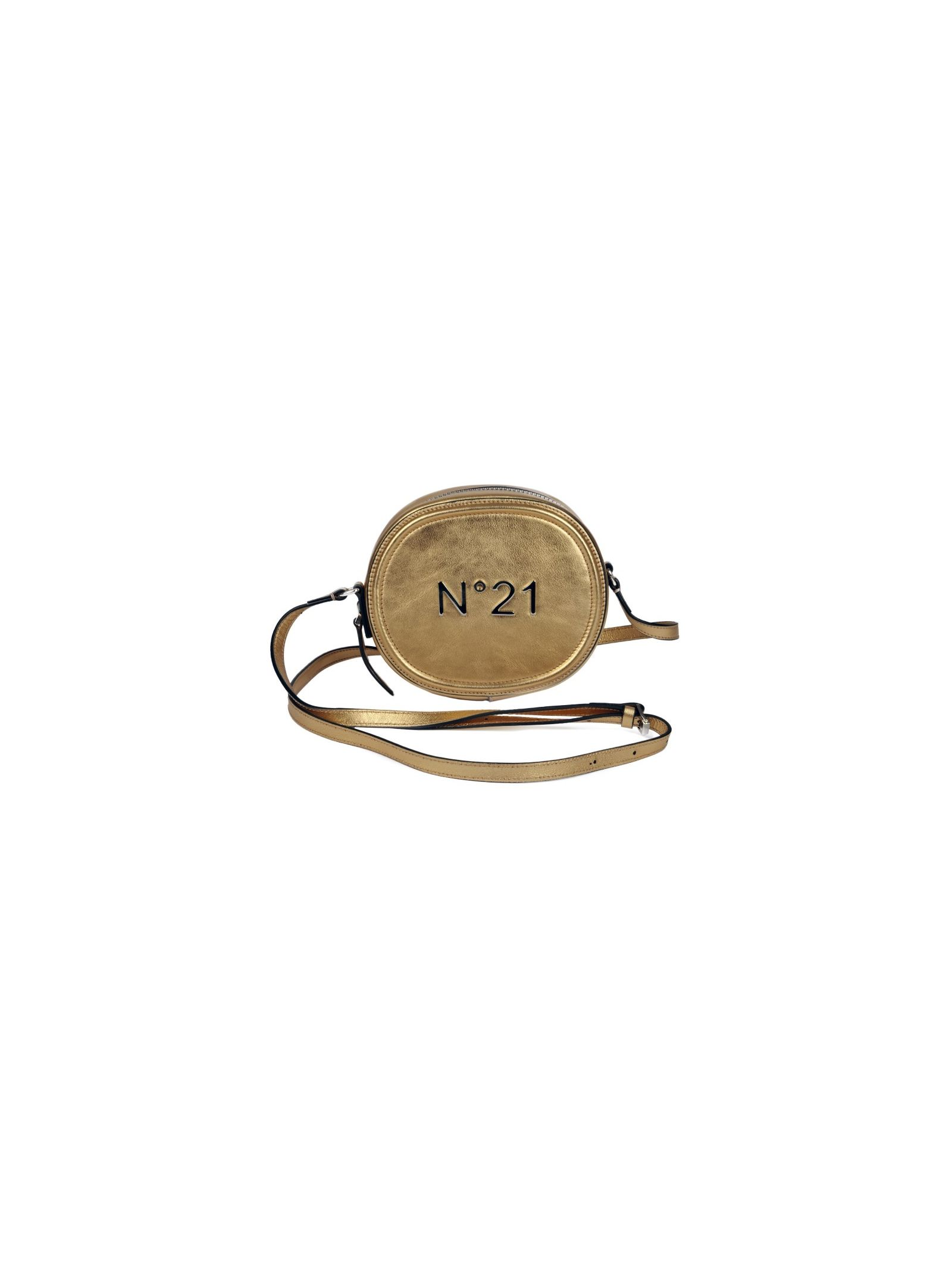 logo studded shoulder bag from n 21: logo studded shoulder bag with round body, front zip fastening, adjustable shoulder strap and silver-tone metal brand logo at front.