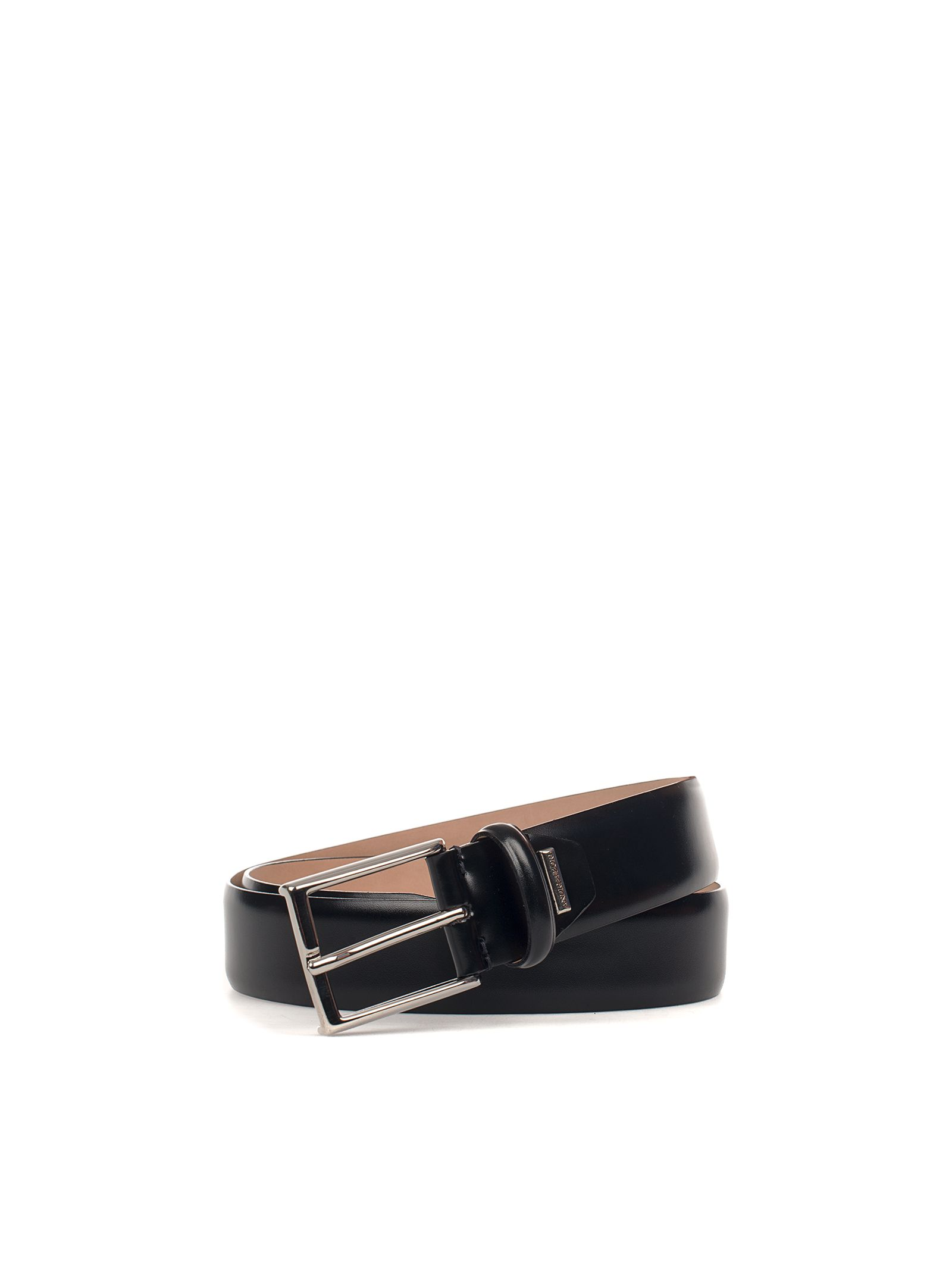 Black Brushed Leather Belt