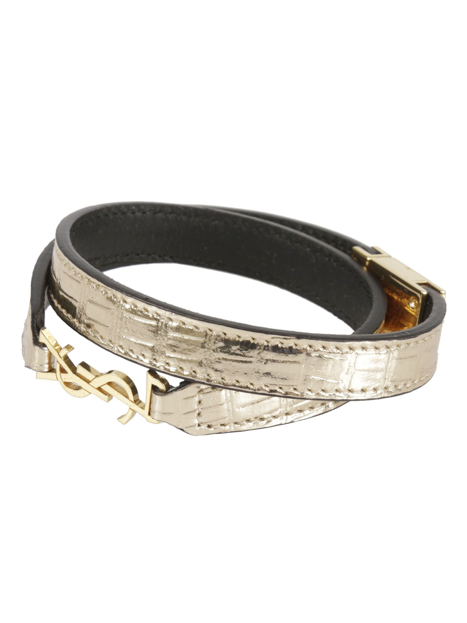 Double Wrap Bracelet from Saint Laurent: Gold Double Wrap Bracelet with gold-tone hardware
