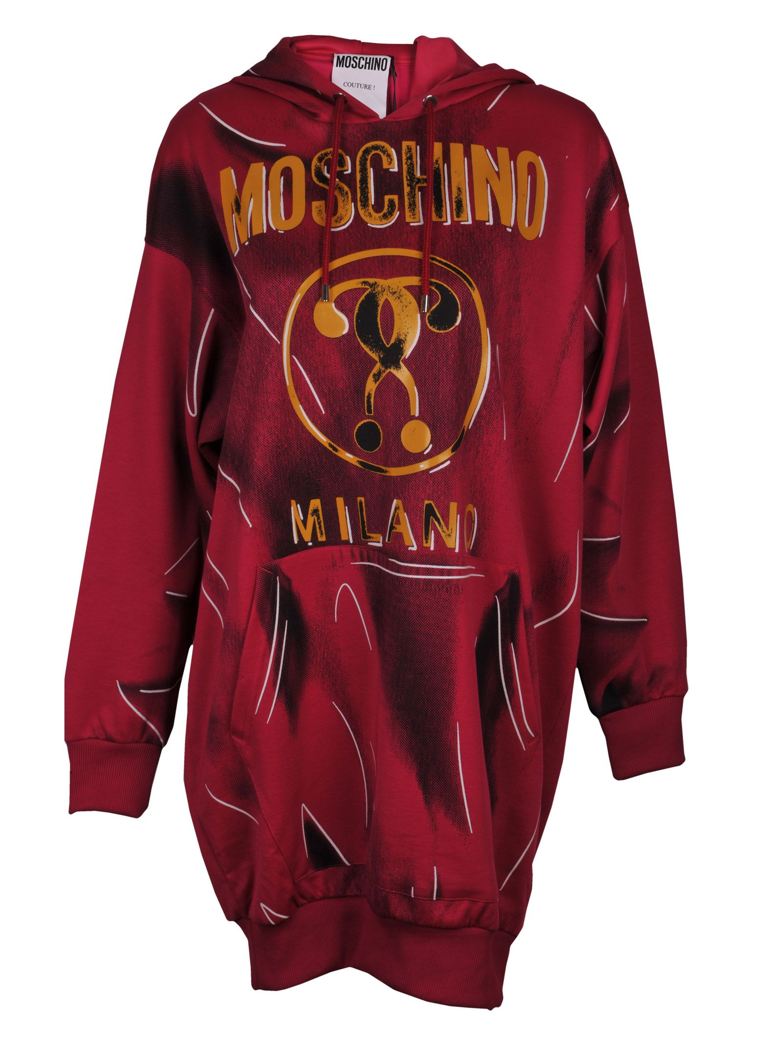 optical illusion logo sweatshirt dress from moschino: red optical illusion logo sweatshirt dress with hood with drawstring tie fastenings, kangaroo pocket, long sleeves, mid-length, ribbed hem and cuffs and printed shadow and creased effect.